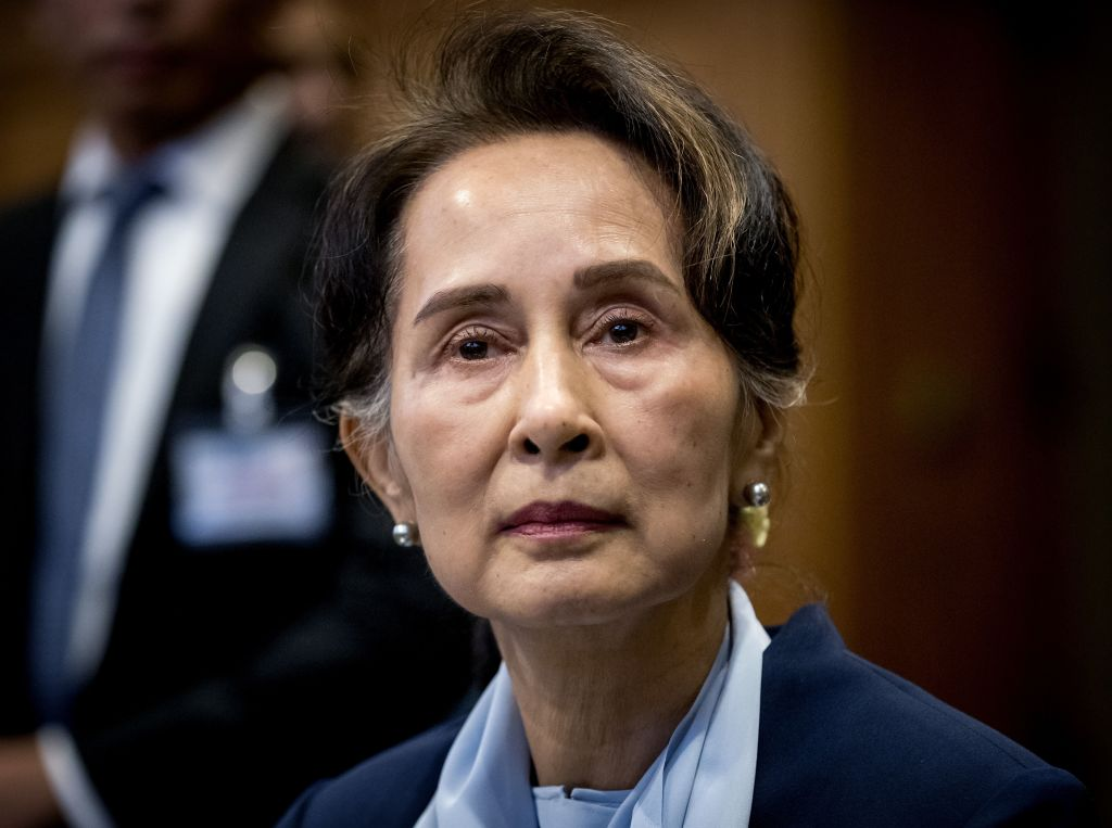 Myanmar's State Counsellor Aung San Suu Kyi looks on during hearings at the UN's International Court of Justice in the Peace Palace of The Hague on Dec. 11, 2019.