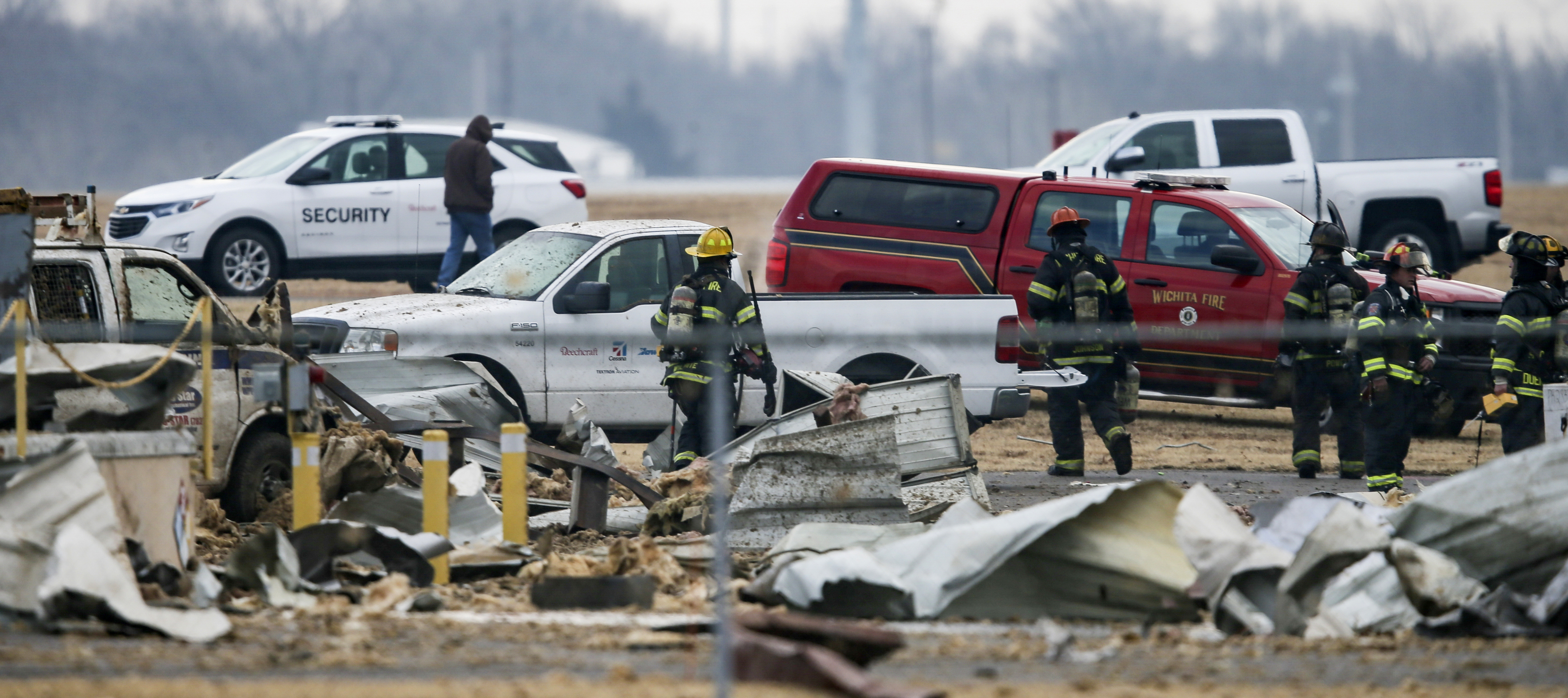 Authorities respond after a partial building collapse at Beechcraft aircraft manufacturing facility in Wichita, Kan., Friday, Dec. 27, 2019.