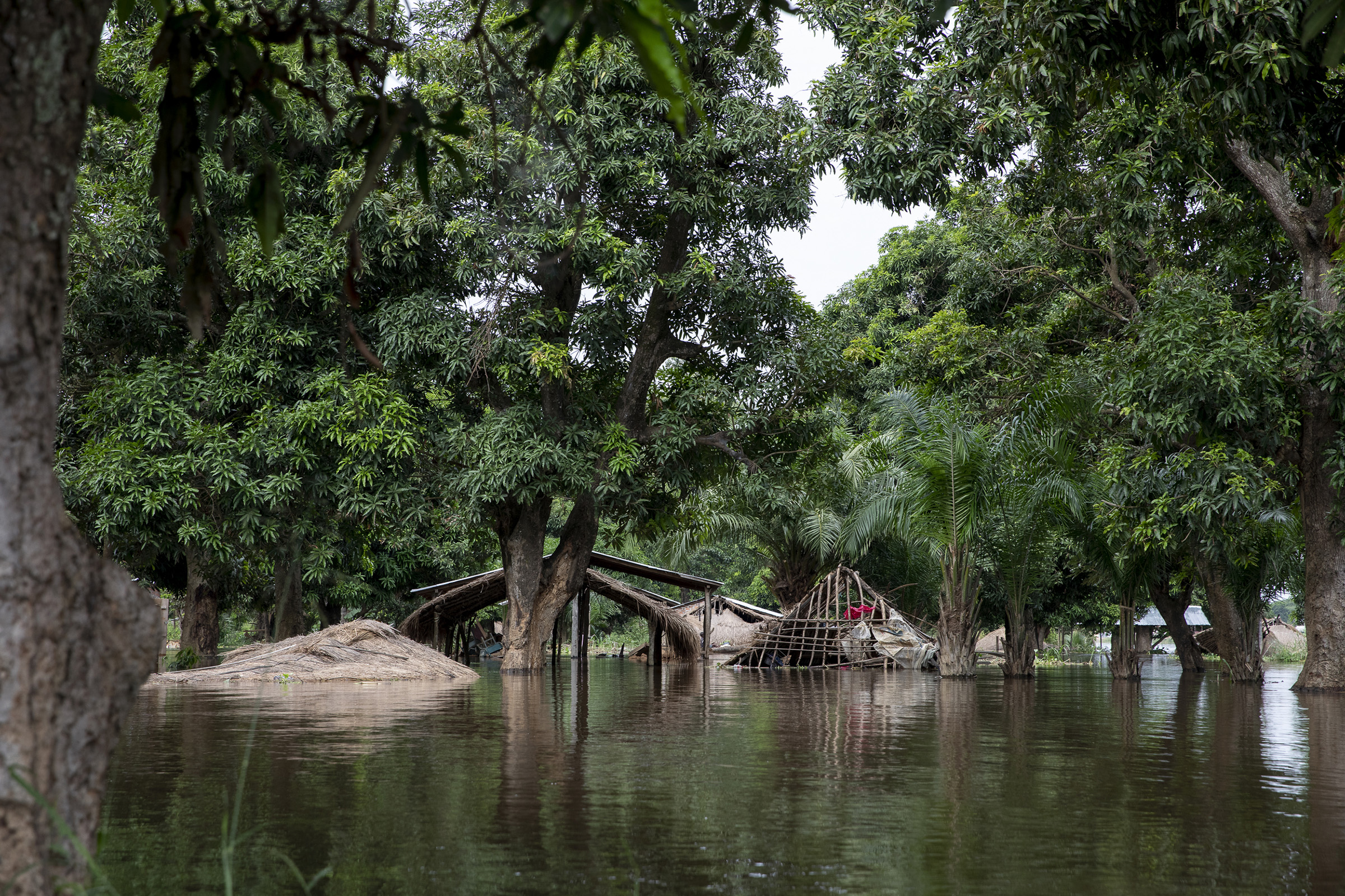 On Monkey Island, located in the middle of Ubangi River between the Democratic Republic of the Congo and the Central African Republic, almost all the houses fell to the floods, since they were made of mud-bricks. People fled during the night to the riverside.
