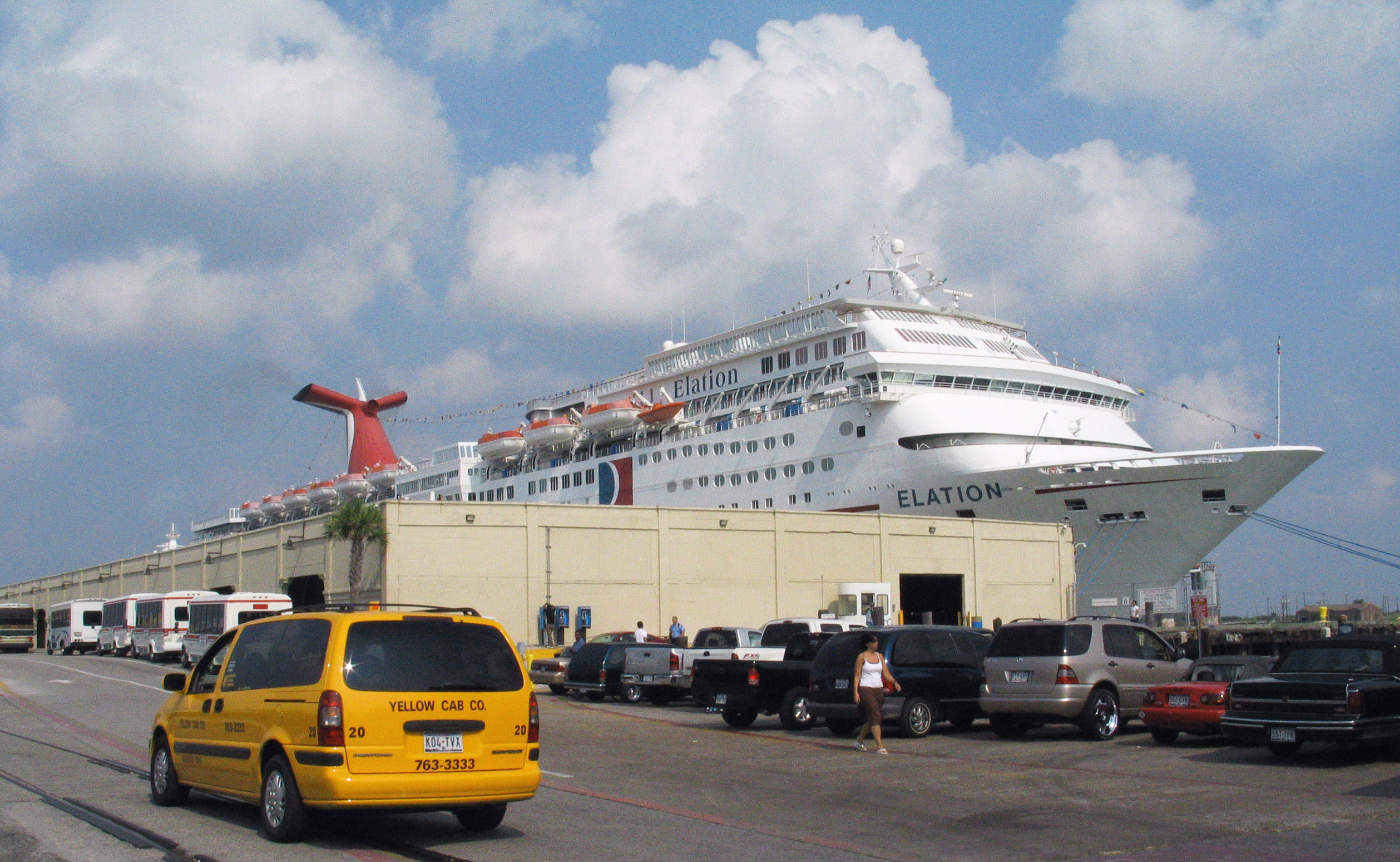 Carnival cruise ship Elation pictured in Galveston, Texas in June 2005.