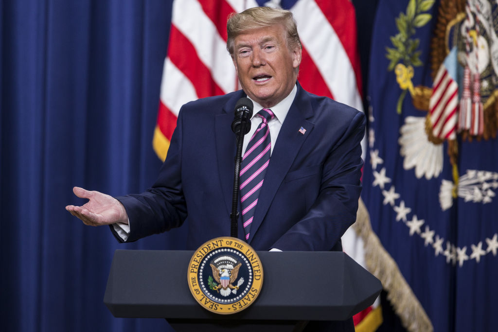 U.S. President Donald Trump speaks during the White House Summit on Child Care and Paid Leave at the Eisenhower Executive Office Building in Washington, D.C., on Dec. 12, 2019.