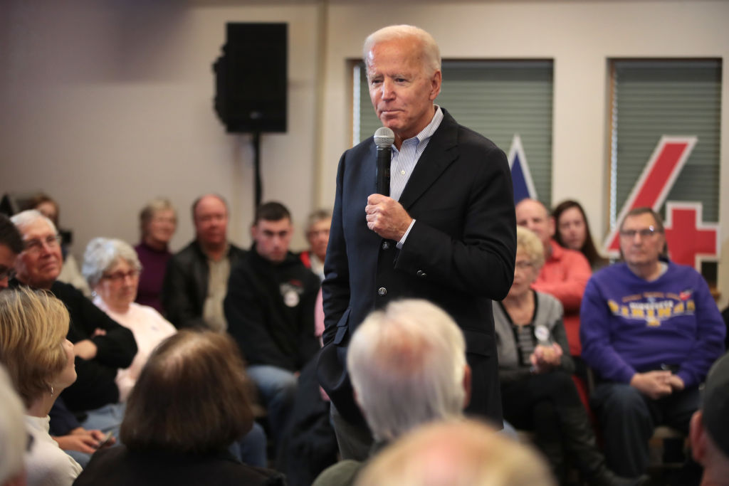 ALGONA, IOWA - DECEMBER 02: Democratic presidential candidate, former Vice President Joe Biden speaks during a campaign stop at the Water's Edge Nature Center on December 2, 2019 in Algona, Iowa. The stop was part of Biden's 650-mile  No Malarkey  campaign bus trip through rural Iowa. The 2020 Iowa Democratic caucuses will take place on February 3, 2020, making it the first nominating contest for the Democratic Party in choosing their presidential candidate to face Donald Trump in the 2020 election.