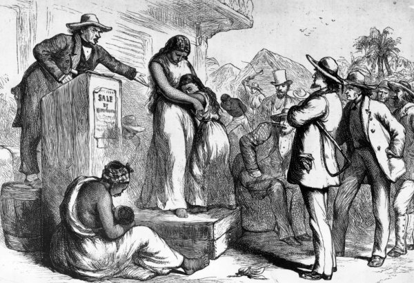 A circa 1830 illustration of a slave auction in America.