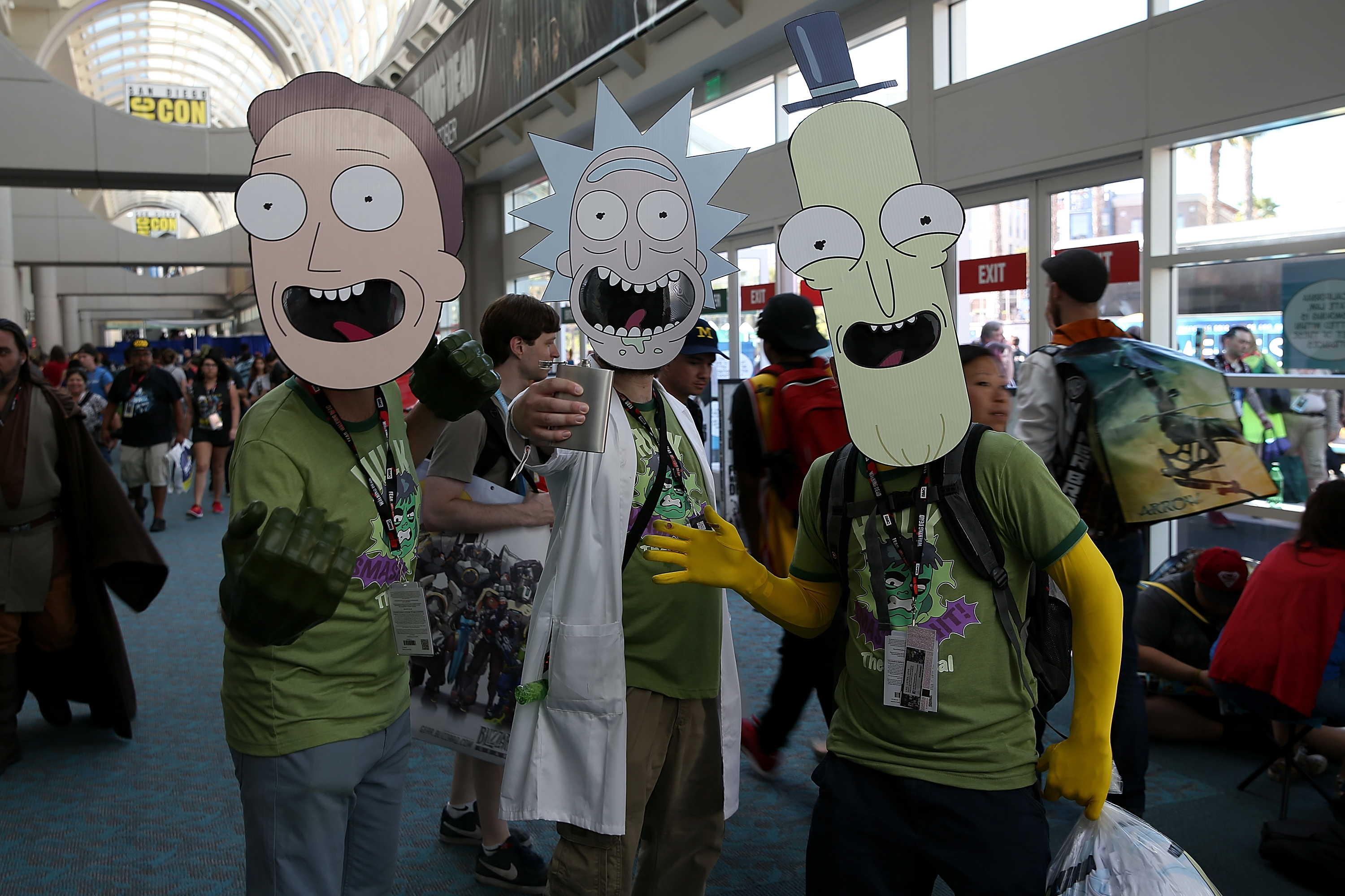 Fans with  Rick and Morty  masks attend Comic-Con International 2016 in San Diego.