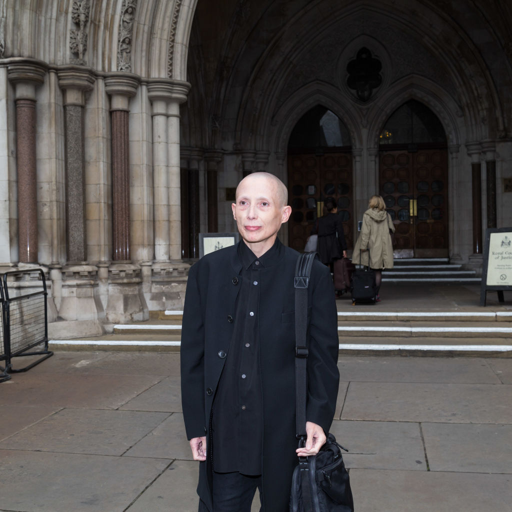 Christie Elan-Cane at the High Court on Oct. 11, 2017 in London, U.K. where she launched her fight for the right to have  X  passports. On Dec. 3, 2019, Elan-Cane launched an appeal against the High Court decision in an attempt to permit gender-neutral passports.