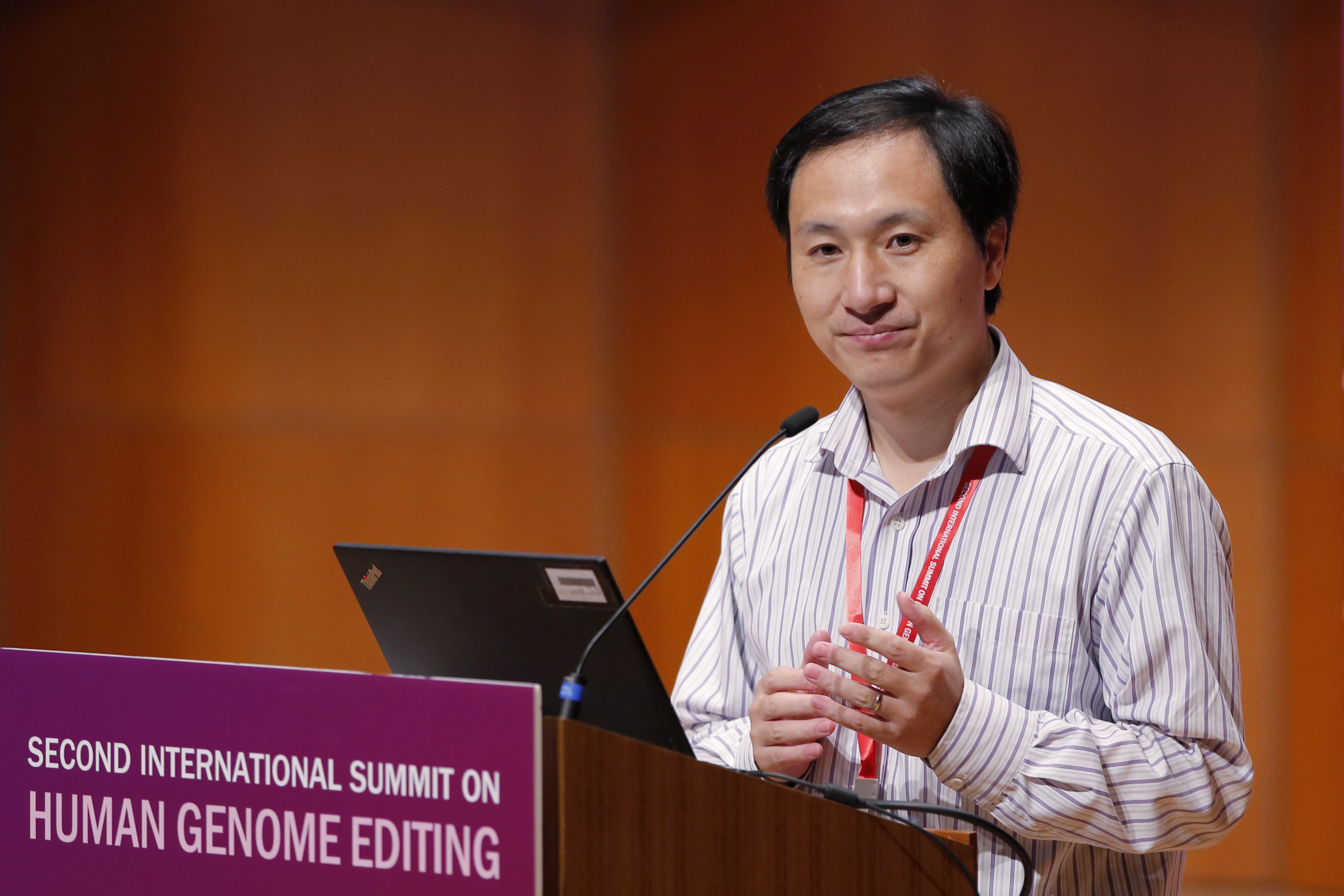 Scientist He Jiankui, pictured at a conference in April 2019, was sentenced to three years in prison and fined 3 million yuan ($430,000) in China for leading the team that gene edited babies.