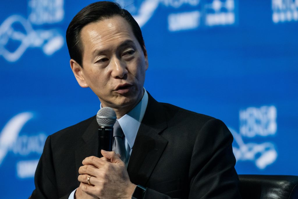 Bernard Chan, convener of the Executive Council of Hong Kong, pictured at a summit in September 2019, said he believes  worst is probably over  with regards to the Hong Kong protests.