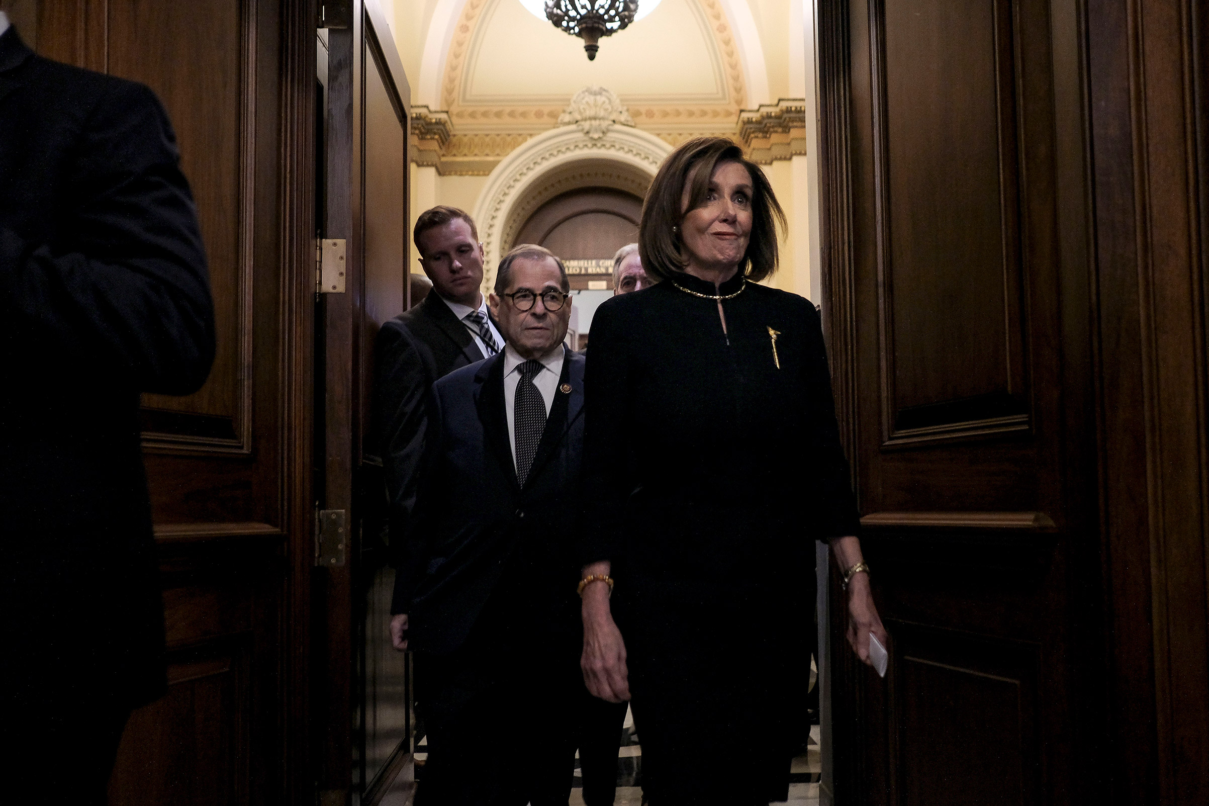 Speaker Nancy Pelosi (D-Calif.) and Judiciary Chairman Jerry Nadler (D-N.Y.) walk off the floor after the House vote on articles of impeachment at the Capitol in Washington, D.C. on Dec. 18, 2019.