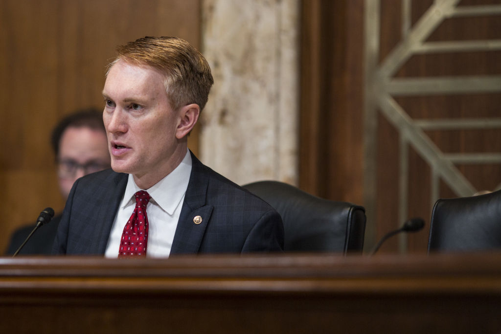 Senator James Lankford, a Republican from Oklahoma and chairman of the Senate Appropriations Subcommittee on Financial Services and General Government, speaks during a Senate Appropriations Subcommittee hearing in Washington, D.C., U.S., on Thursday, May 17, 2018.