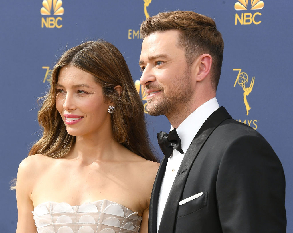 Jessica Biel, Justin Timberlake arrives at the 70th Emmy Awards on September 17, 2018 in Los Angeles, California.
