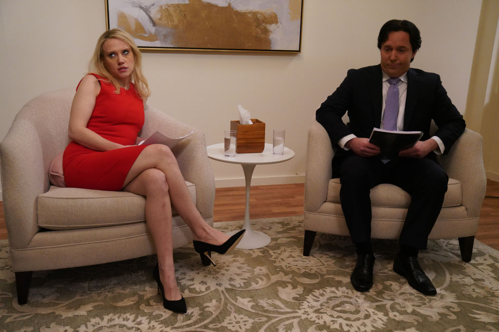 Kate McKinnon as Kellyanne Conway and Beck Bennett as George Conway during the  Marriage Counseling  sketch on Saturday, Dec. 14, 2019