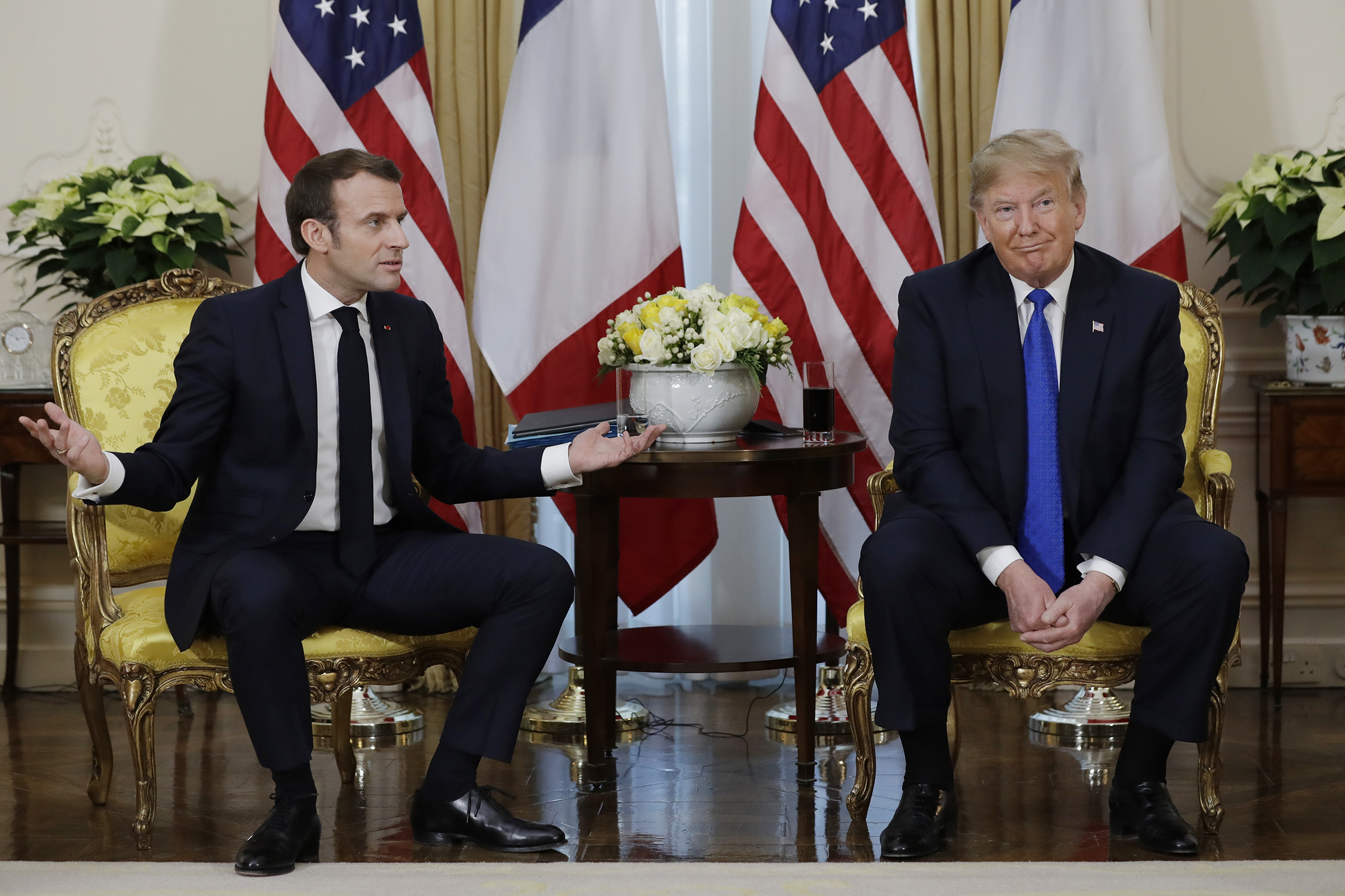 President Donald Trump meets French President Emmanuel Macron at Winfield House, on Dec. 3, 2019, in London.