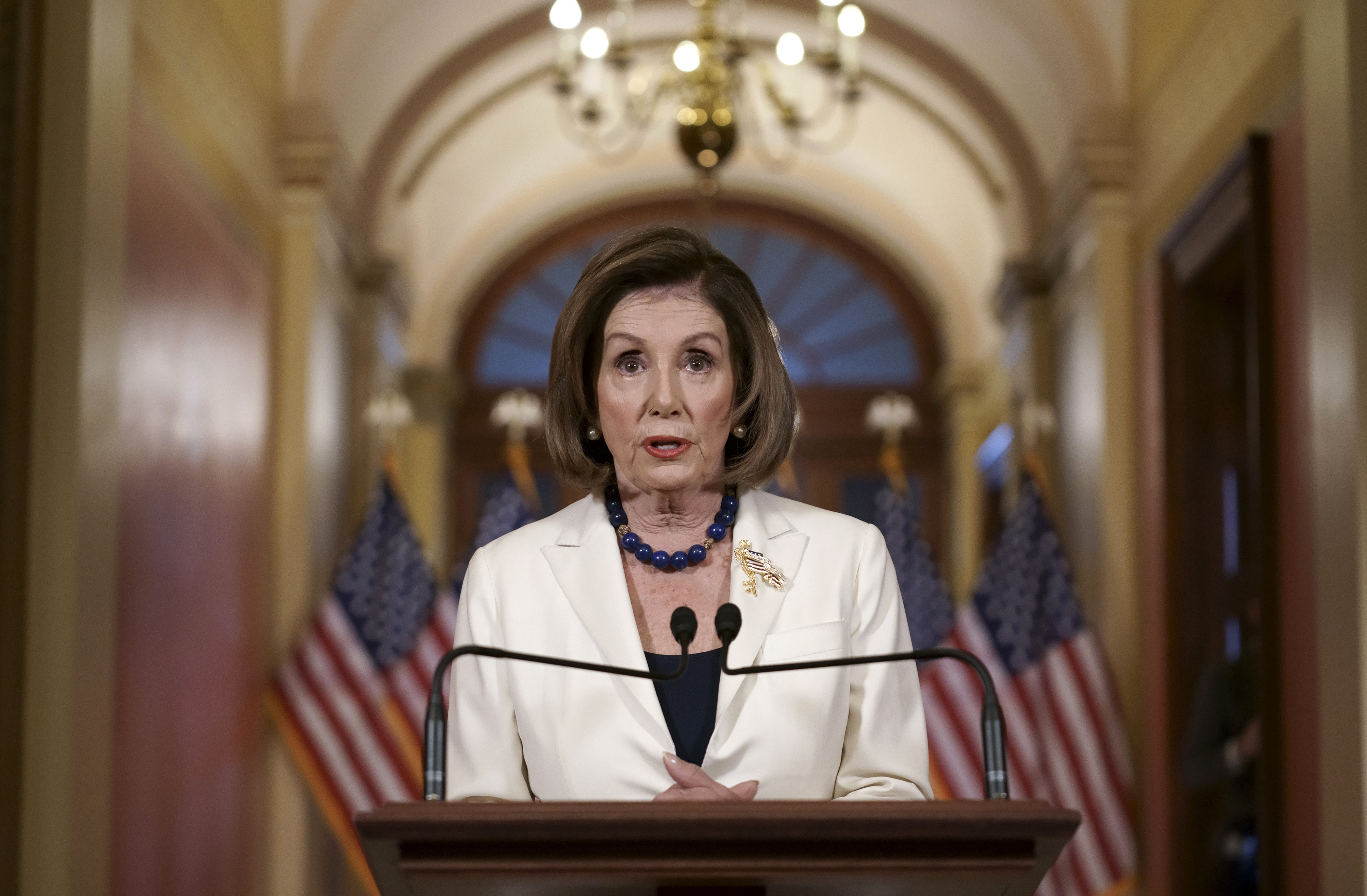 Speaker of the House Nancy Pelosi, D-Calif., announced that she is asking Democrats to move forward with drafting articles of impeachment against President Donald Trump at the U.S. Capitol in Washington, Thursday, Dec. 5, 2019.