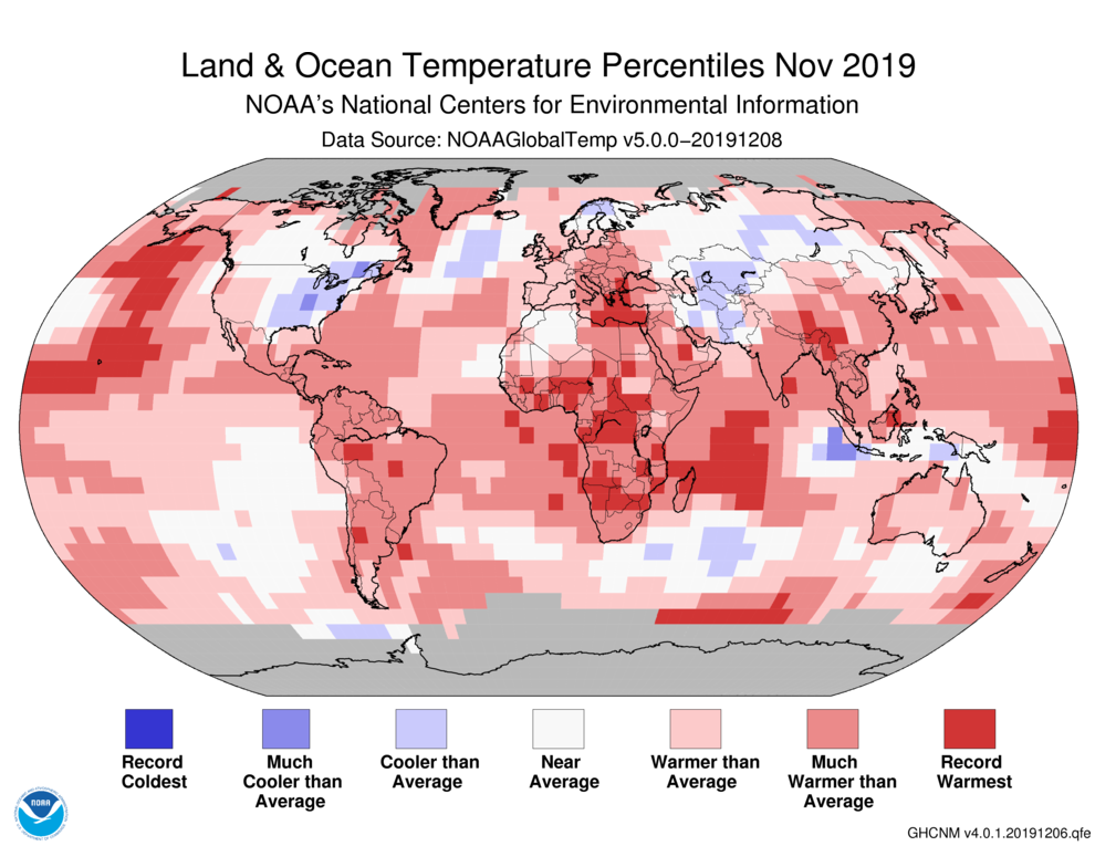 Global Temperature Percentiles Map for Nov. 2019