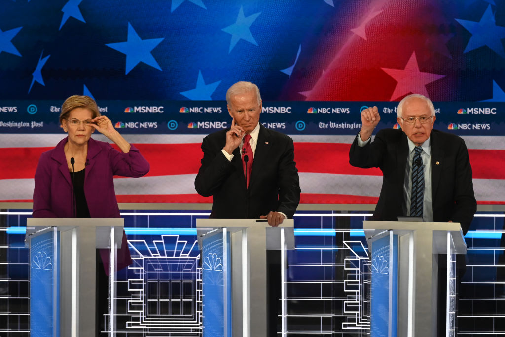 Presidential candidate Sen. Elizabeth Warren (D-Mass.), Former vice president Joe Biden and Sen. Bernie Sanders (I-Vt.) during the Washington Post and MSNBC fifth Democratic presidential primary debate at the from Tyler Perry Studios on November 20, 2019 in Atlanta, Georgia.