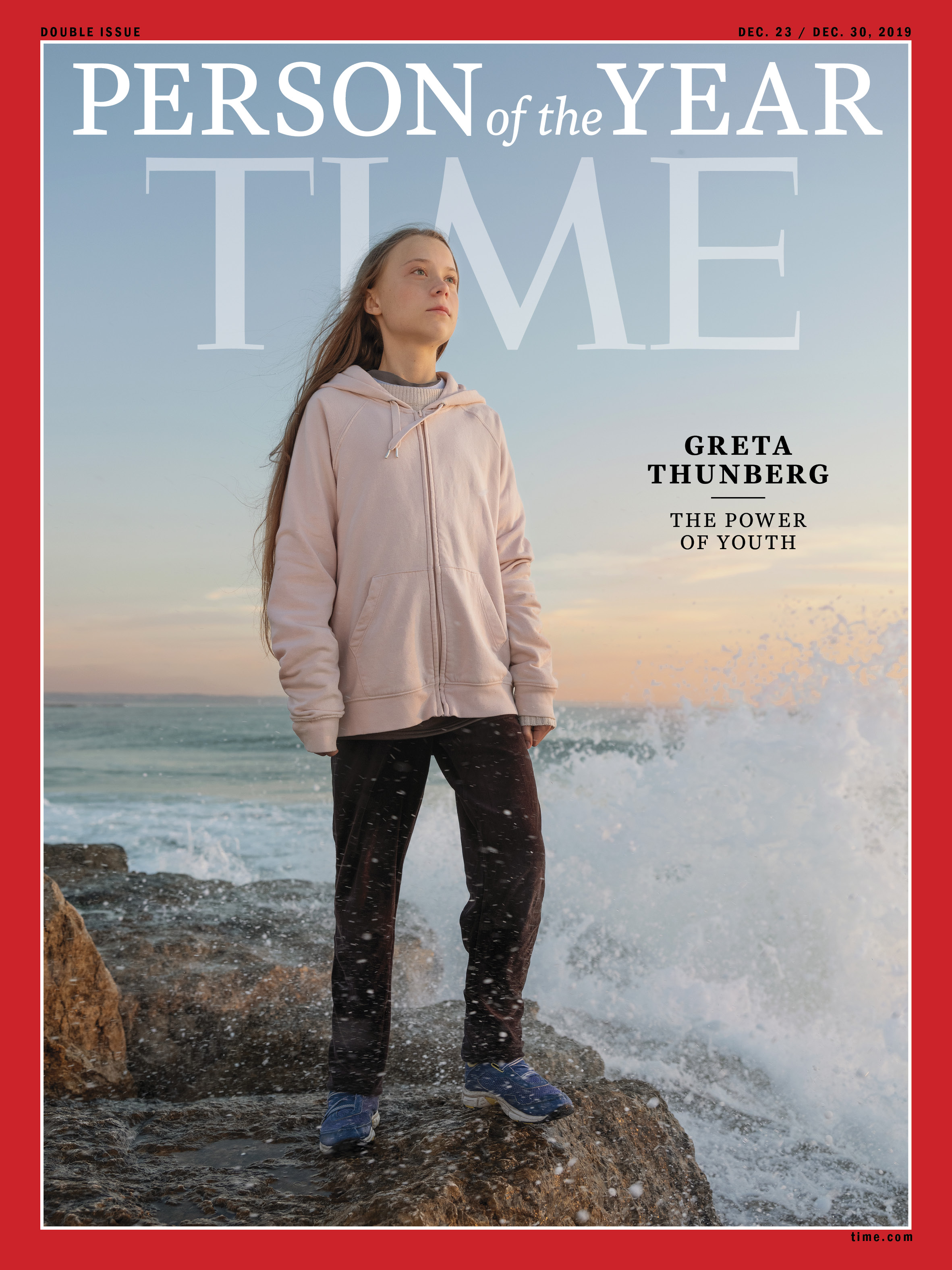 Climate activist Greta Thunberg photographed on the shore in Lisbon, Portugal, on Dec. 4, 2019.