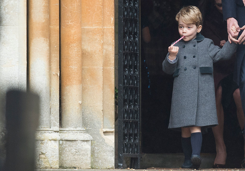 Prince George of Cambridge attends Church on Christmas Day on December 25, 2016 in Bucklebury, Berkshire.