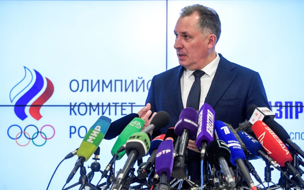 Russian Olympic Committee (ROC) President Stanislav Pozdnyakov holds a press conference in Moscow on December 24, 2019 following meetings with the Russian anti-doping agency to discuss Russia's doping ban from major sport competitions.