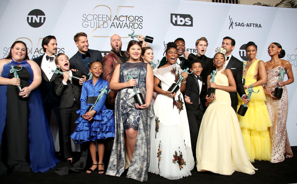 The cast of 'This Is Us,' winners of the Outstanding Performance by an Ensemble in a Drama Series, pose in the press room during the 25th Annual Screen Actors Guild Awards at The Shrine Auditorium on January 27, 2019 in Los Angeles, California.