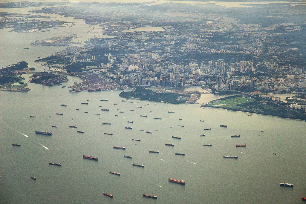 An aerial view of downtown Singapore showing some of the shipping that makes the Singapore Strait one of the busiest shipping lanes in the world.