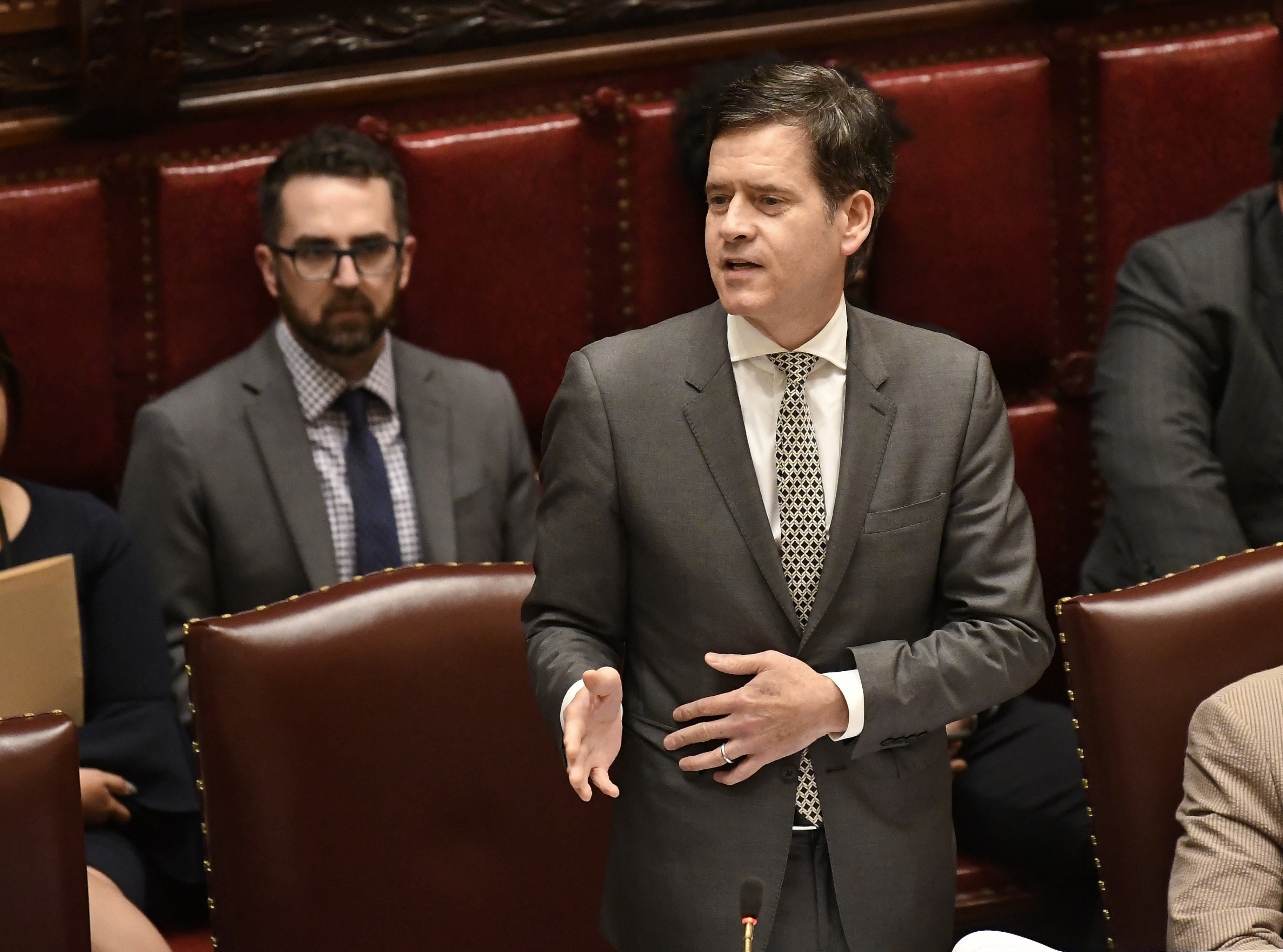 State Sen. Brad Hoylman speaks in the Senate Chamber at the state Capitol in Albany, N.Y. on June 19, 2019.