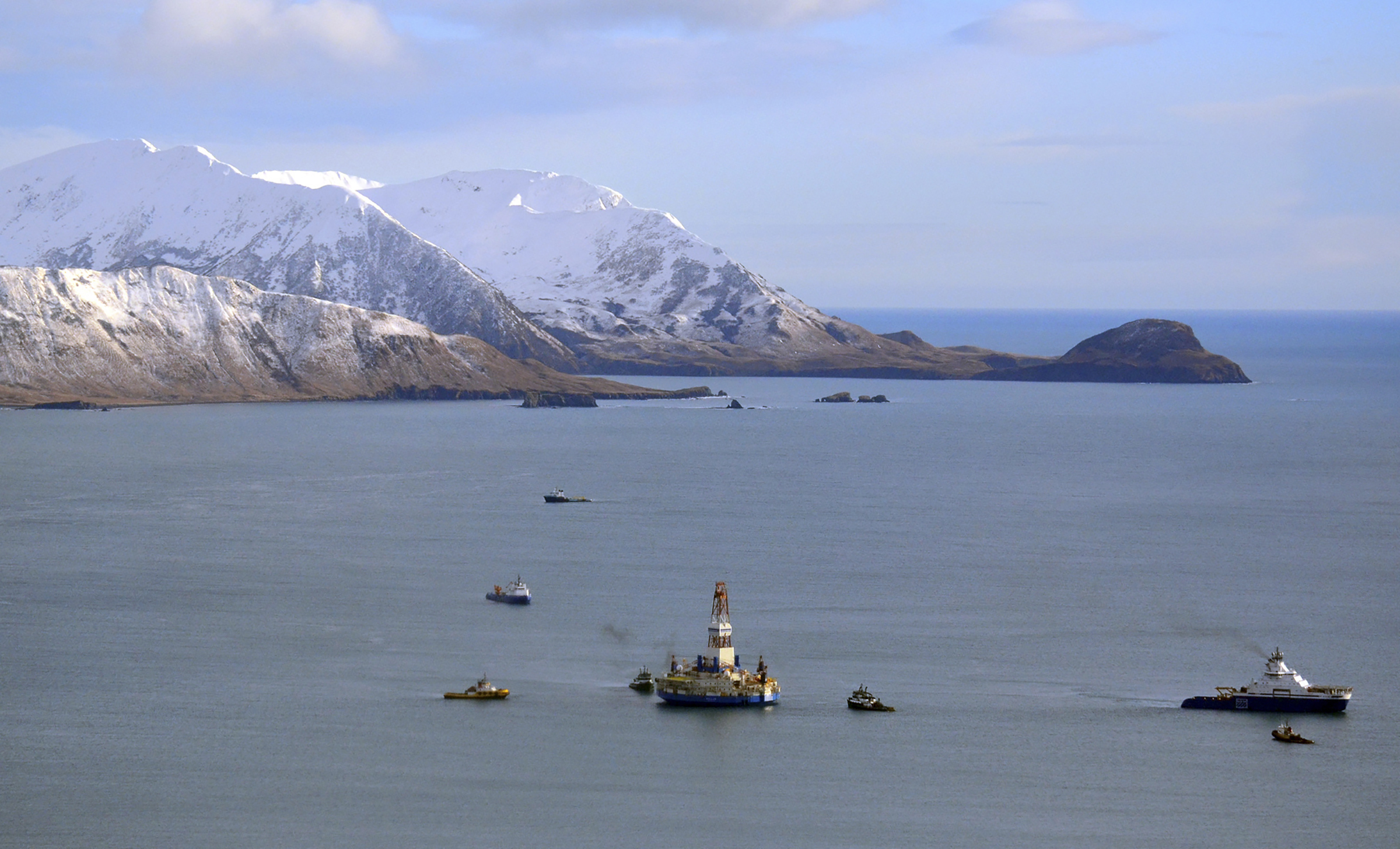A floating drill rig Kulluk in Kodiak Island, Alaska's Kiliuda Bay as salvage teams conduct an in-depth assessment of its seaworthiness on Jan. 7, 2013.