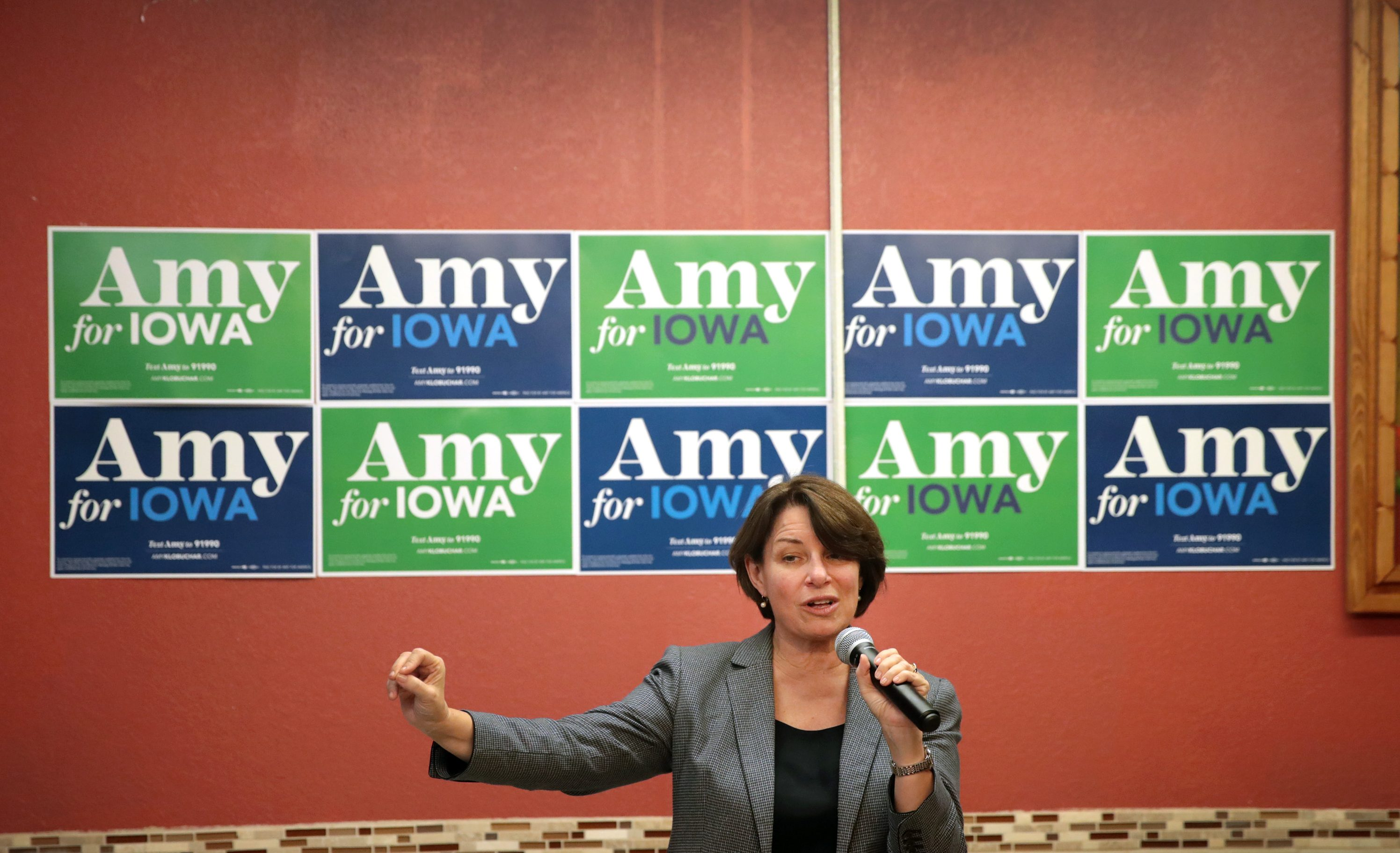 Democratic presidential candidate Sen. Amy Klobuchar (D-MN) speaks to guests during a campaign stop at La Frontera restaurant on Nov. 26, 2019 in Hampton, Iowa.
