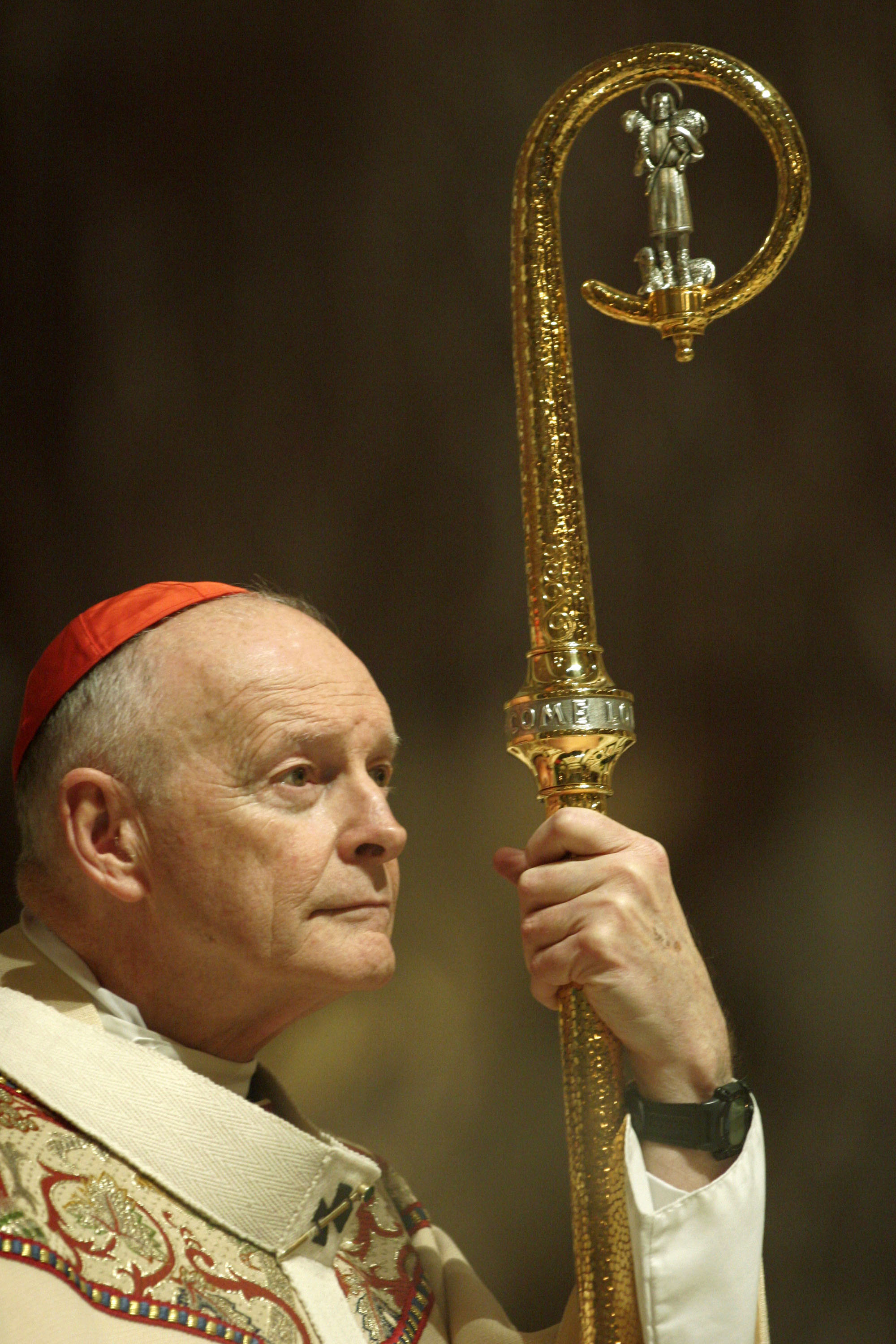 Cardinal Theodore McCarrick, Archbishop of Washington, listens to a reading at the Cathedral of St. Matthew on March 24, 2005 in Washington, D.C. McCarrick also performed a foot-washing as part of Holy Week celebrations.