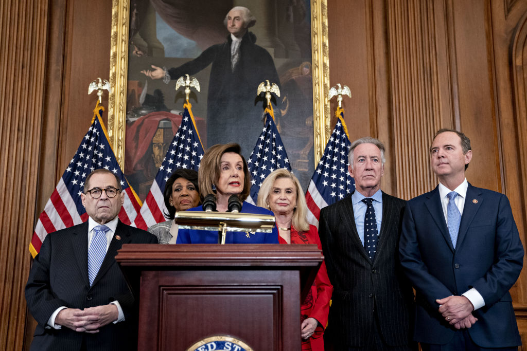 House Democrats announced that the Judiciary Committee is introducing two articles on abuse of power and obstruction of Congress for the next steps in the House impeachment inquiry against President Donald Trump at the U.S. Capitol in Washington, D.C., U.S., on Tuesday, Dec. 10, 2019.