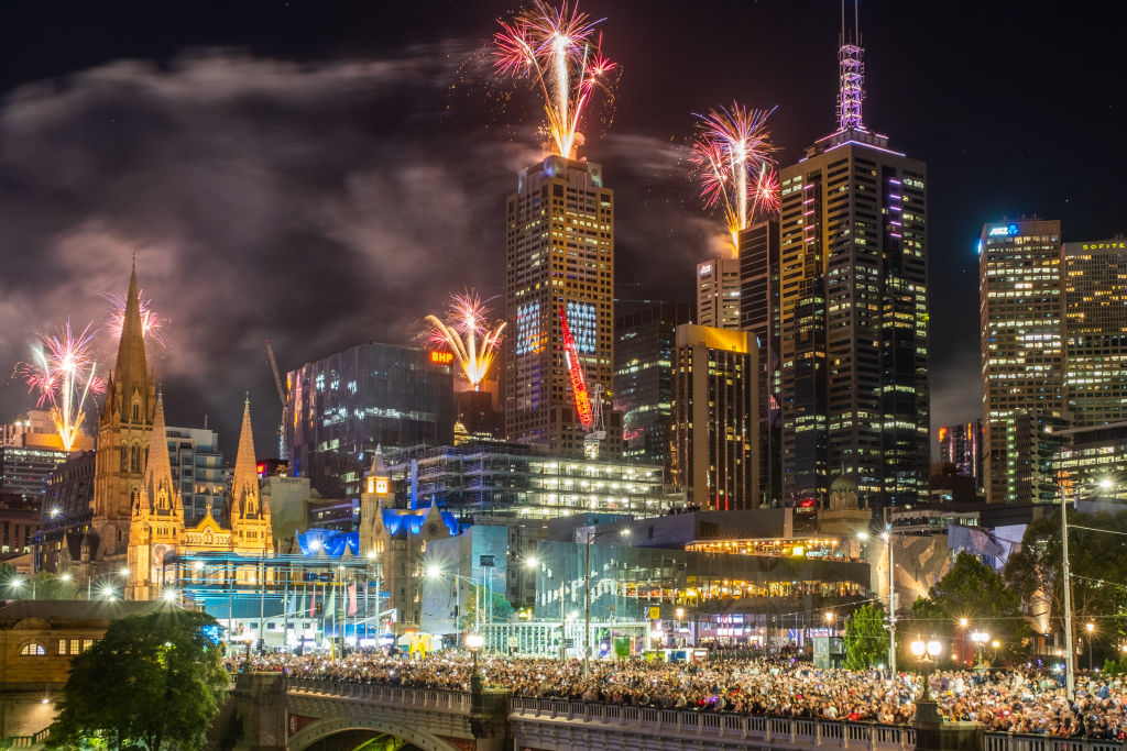 Fireworks erupt over the Melbourne central business district during New Year's Eve celebrations on January 01, 2020 in Melbourne, Australia.