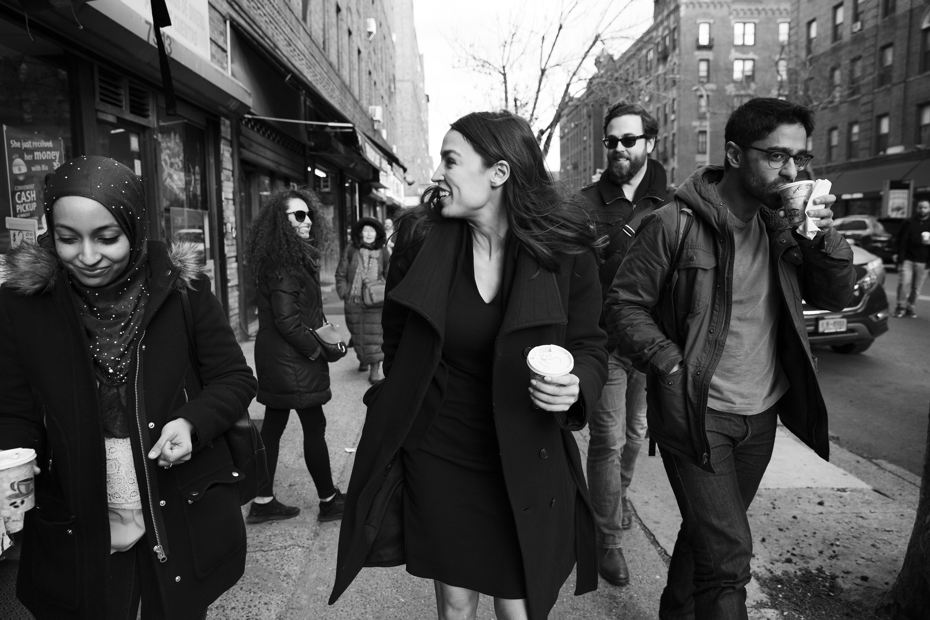 Rep. Alexandria Ocasio-Cortez walks down 37th Avenue with her staff towards her office in Jackson Heights, Queens. April 1 issue.