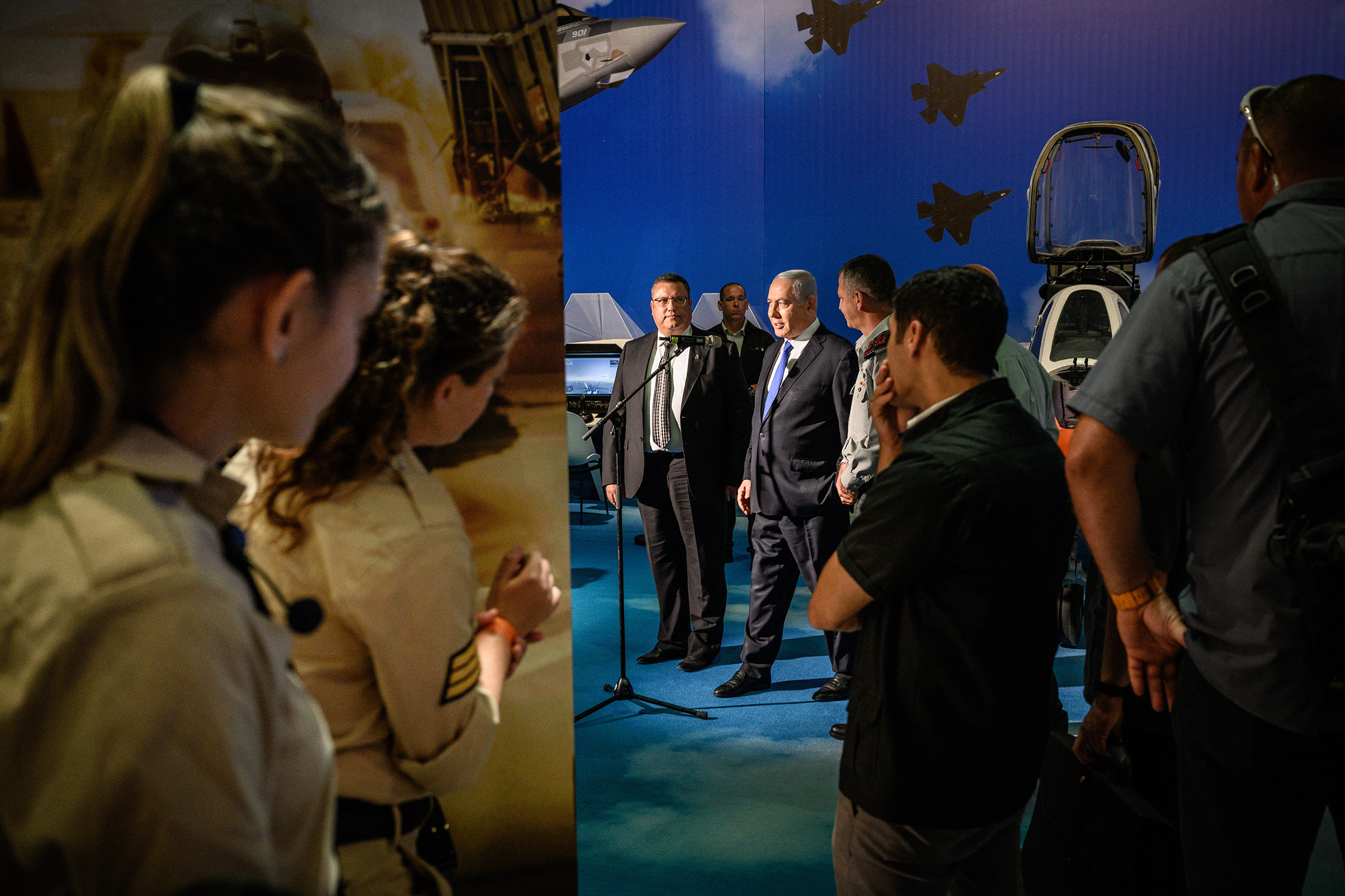 Israeli Prime Minister Benjamin Netanyahu opens an exhibit on the Israel Defense Forces, a driver behind the nation's booming tech sector, in Jerusalem on June 25. July 22 issue.