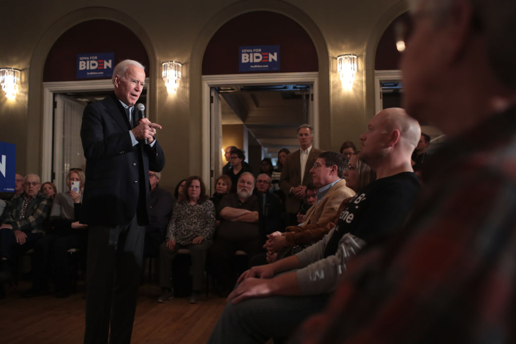 Democratic presidential candidate and former Vice President Joe Biden speaks to guests during a campaign stop at the Hotel Ottumwa in Ottumwa, Iowa, December 21, 2019.