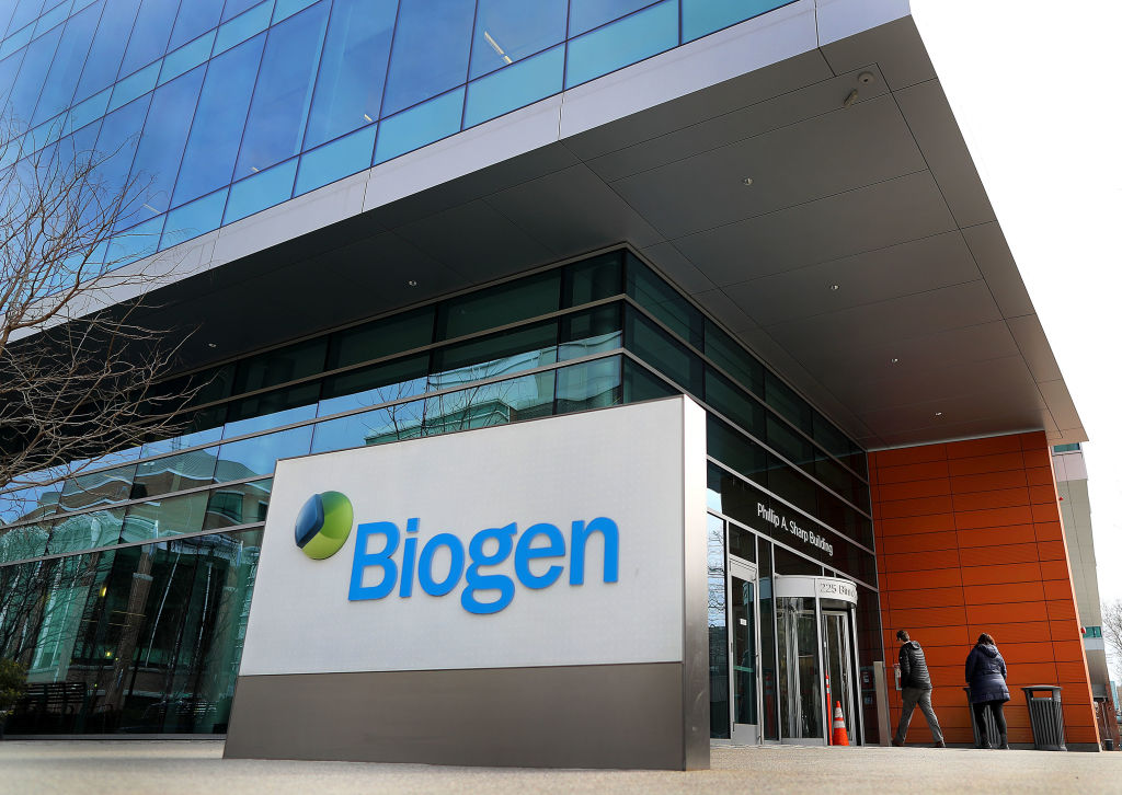 The exterior of the headquarters of biotechnology company Biogen in Cambridge, MA is pictured on March 21, 2019.