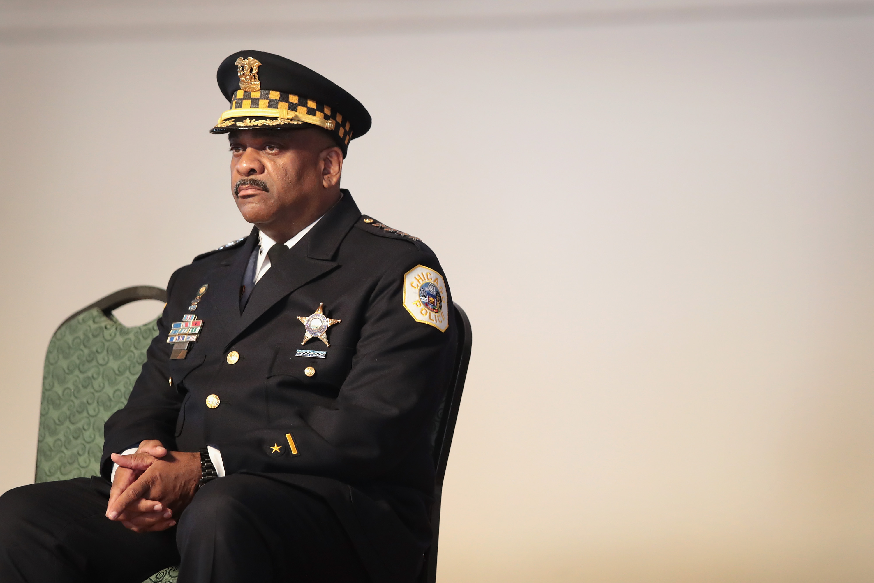 Chicago Police Superintendent Eddie Johnson attends a police academy graduation and promotion ceremony on June 15, 2017 in Chicago, Illinois.