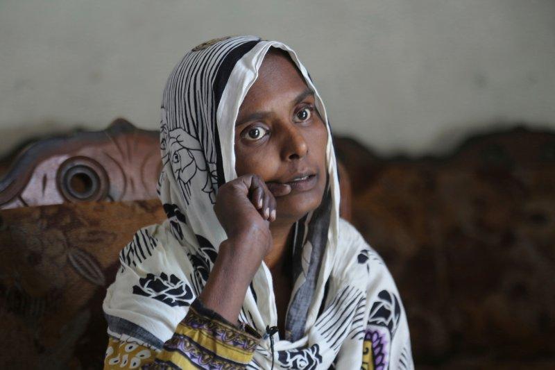 In this April 14, 2019 photo, Samiya David talks to the Associated Press, in Gujranwala, Pakistan.