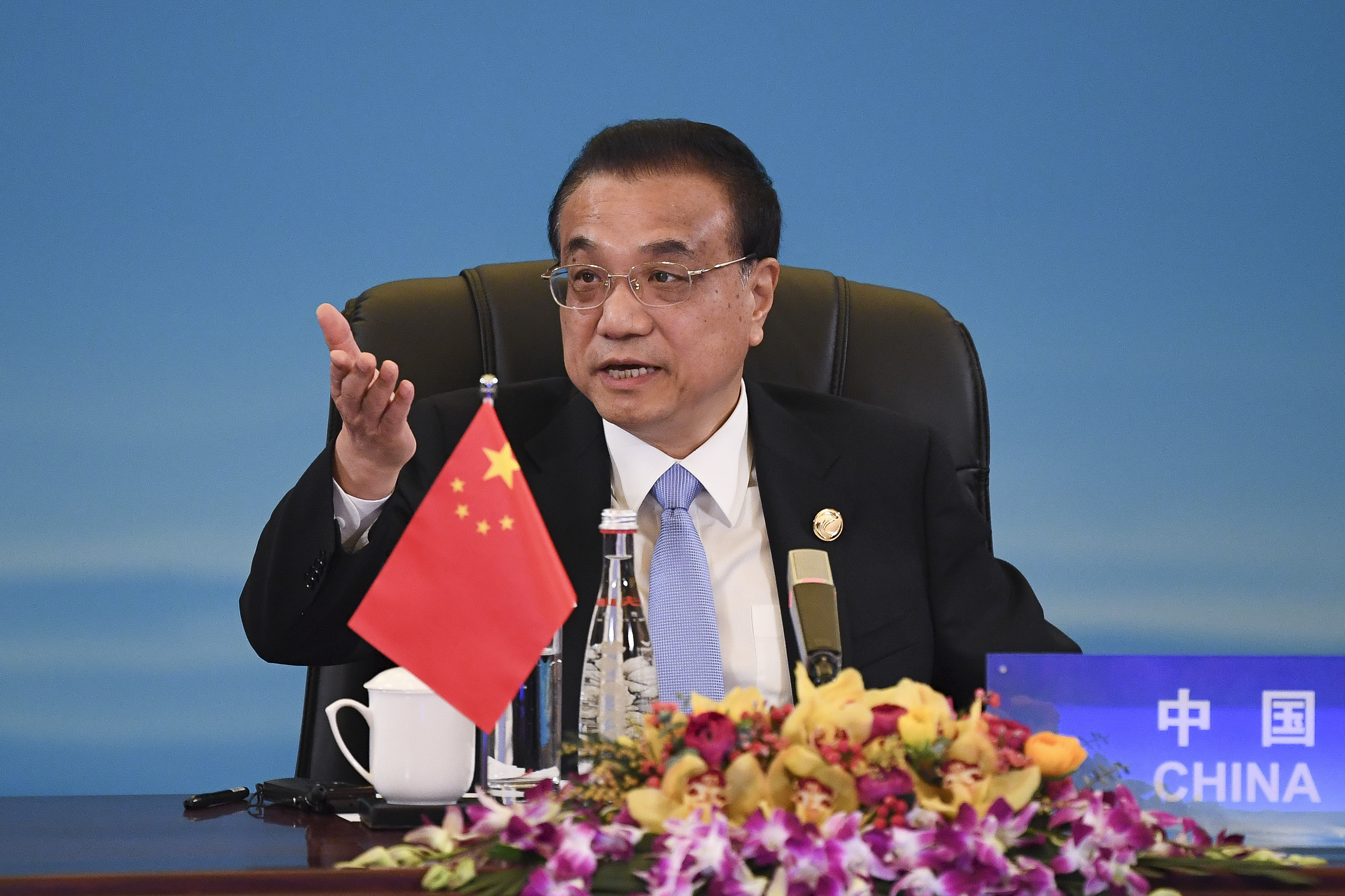 China's Premier Li Keqiang speaks at the trilateral leaders' meeting between China, South Korea and Japan in Chengdu, China's Sichuan province on Dec. 24, 2019.