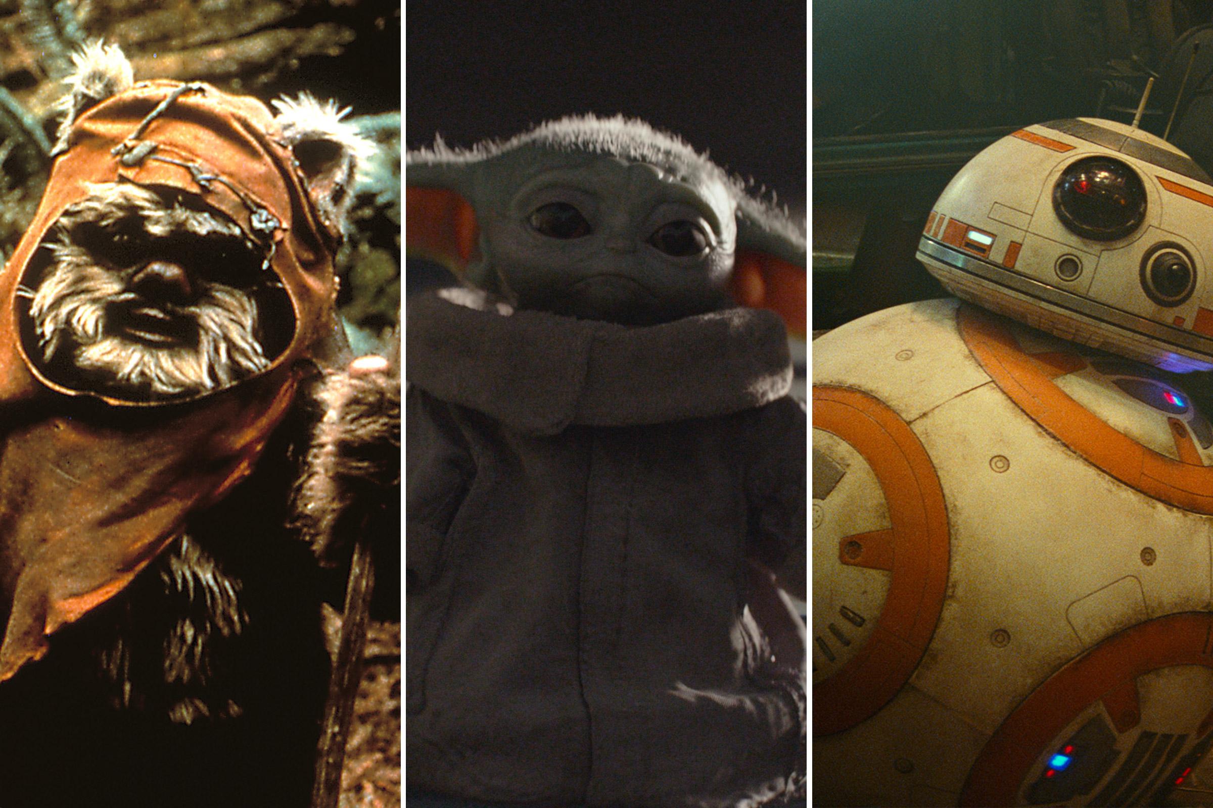 An Ewok, Baby Yoda, BB8