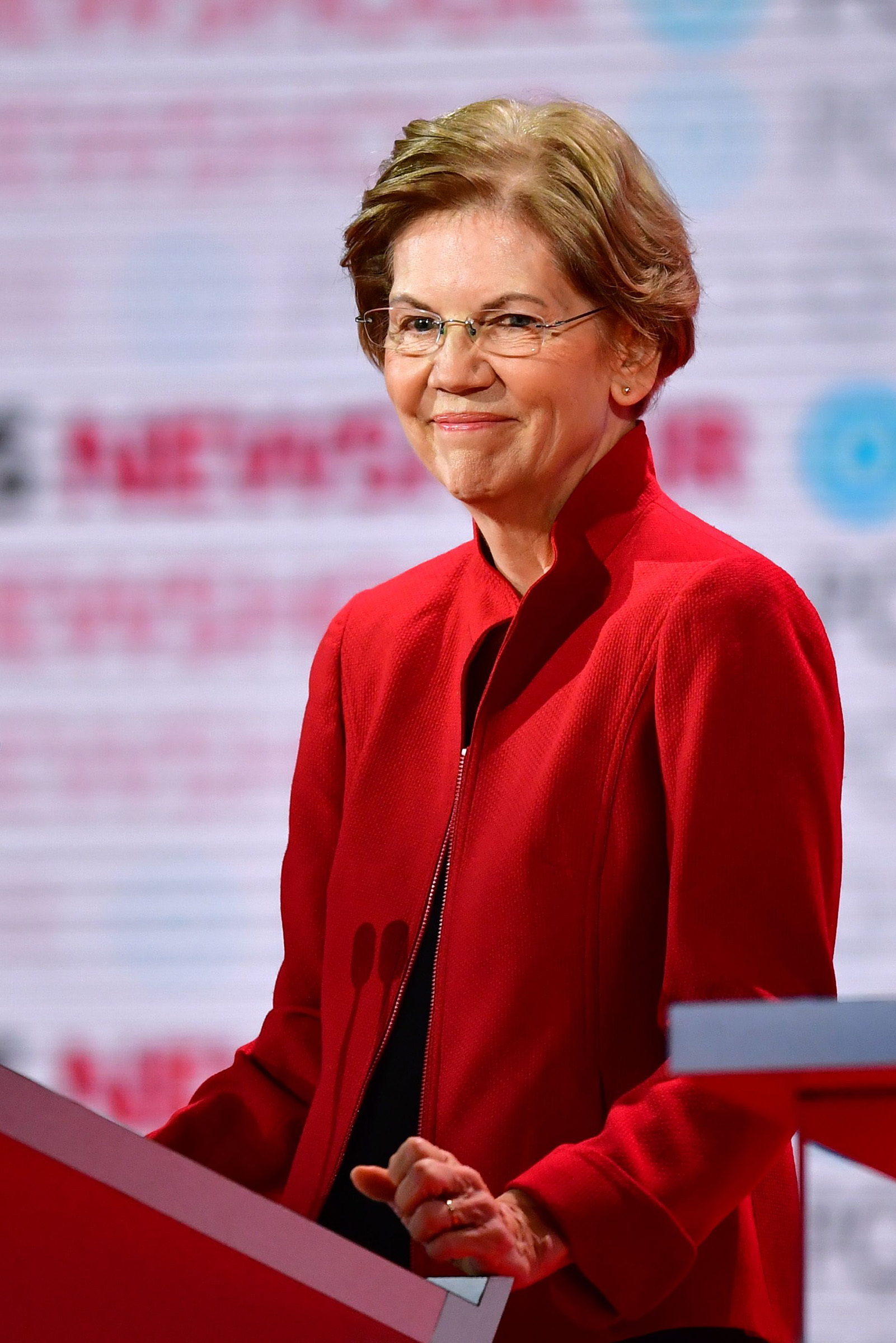 Democratic presidential hopeful Massachusetts Senator Elizabeth Warren smiles ahead of the sixth Democratic primary debate of the 2020 presidential campaign season in Los Angeles, California on Dec. 19, 2019.