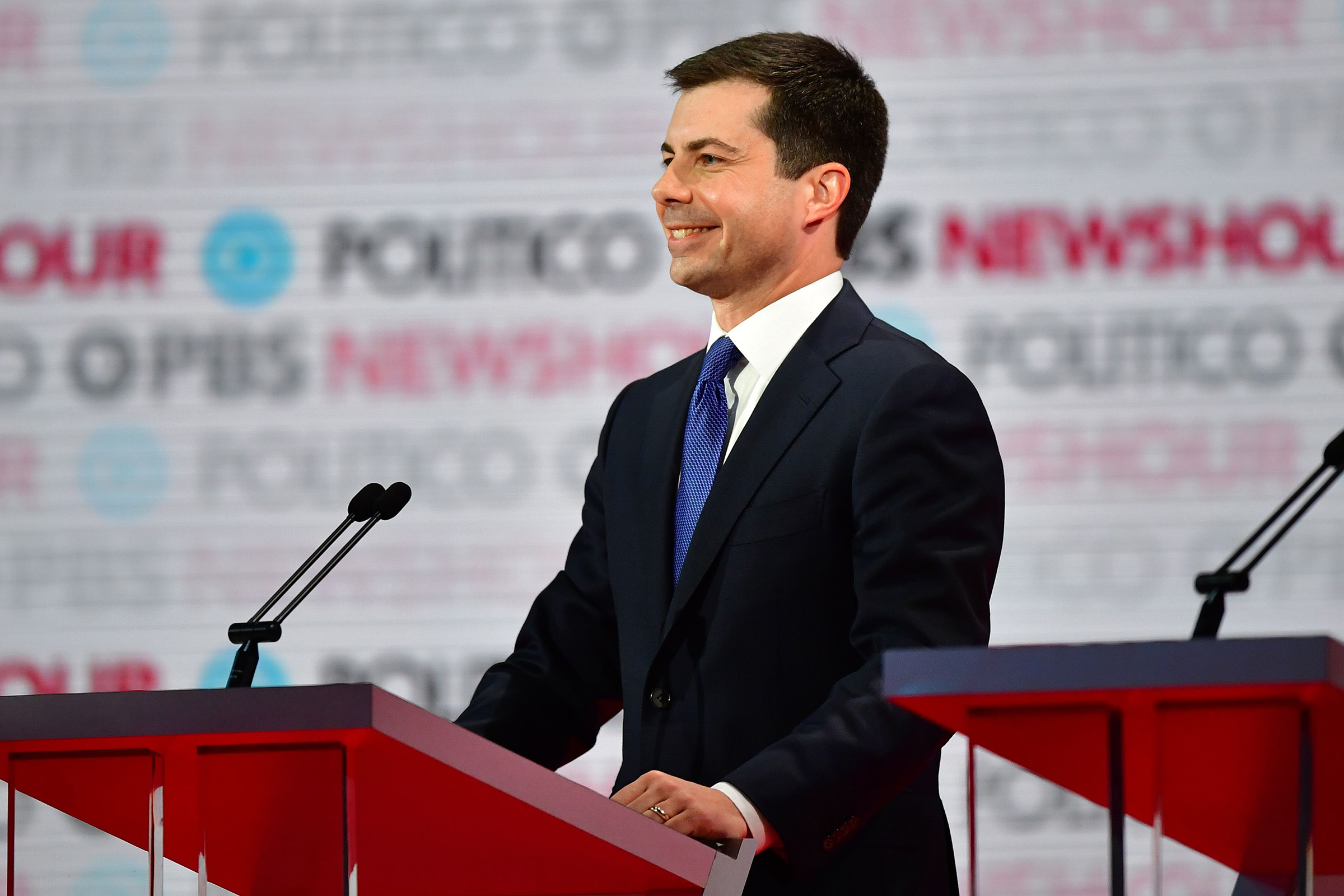 Democratic presidential hopeful South Bend, Indiana Pete Buttigieg participates of the sixth Democratic primary debate of the 2020 presidential campaign season in Los Angeles on Dec. 19, 2019.