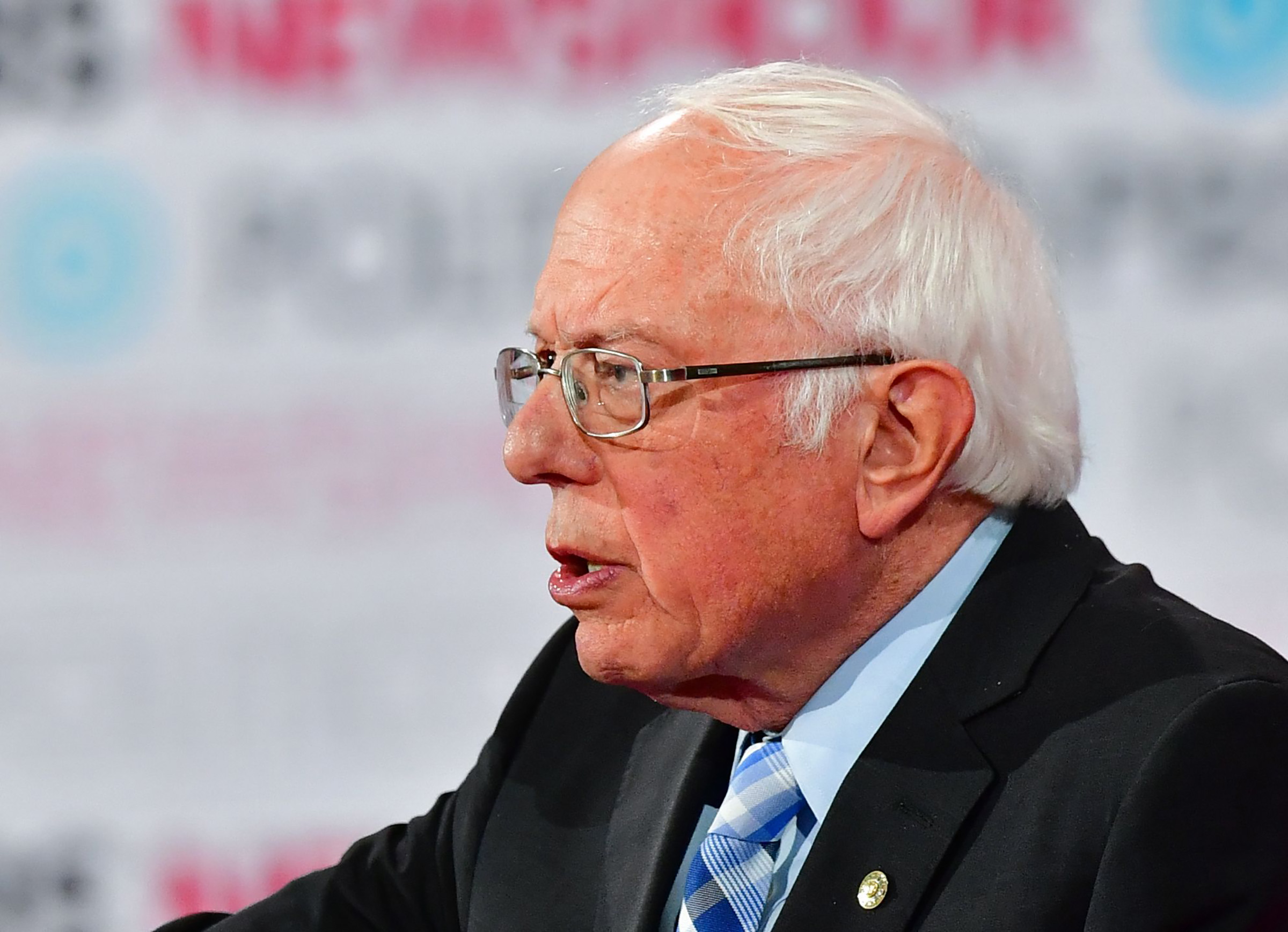 Democratic presidential hopeful Vermont Senator Bernie Sanders speaks on stage during the sixth Democratic primary debate of the 2020 presidential campaign season in Los Angeles, California on Dec. 19, 2019.