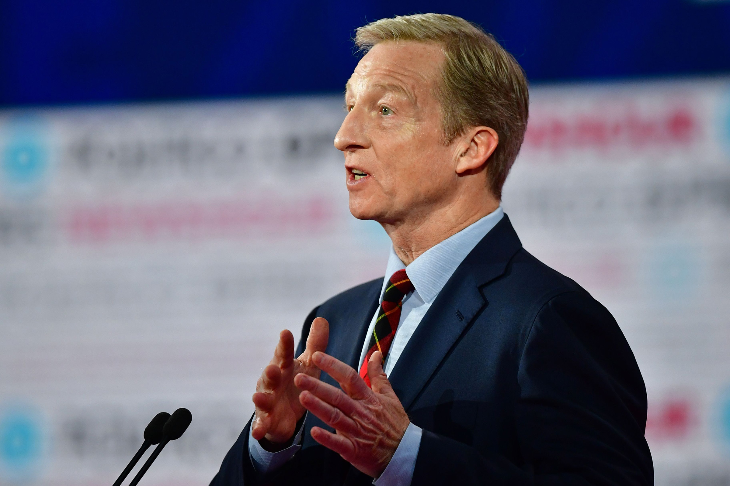 Democratic presidential hopeful billionaire and philanthropist Tom Steyer speaks on stage during the sixth Democratic primary debate of the 2020 presidential campaign in Los Angeles on Dec. 19, 2019.