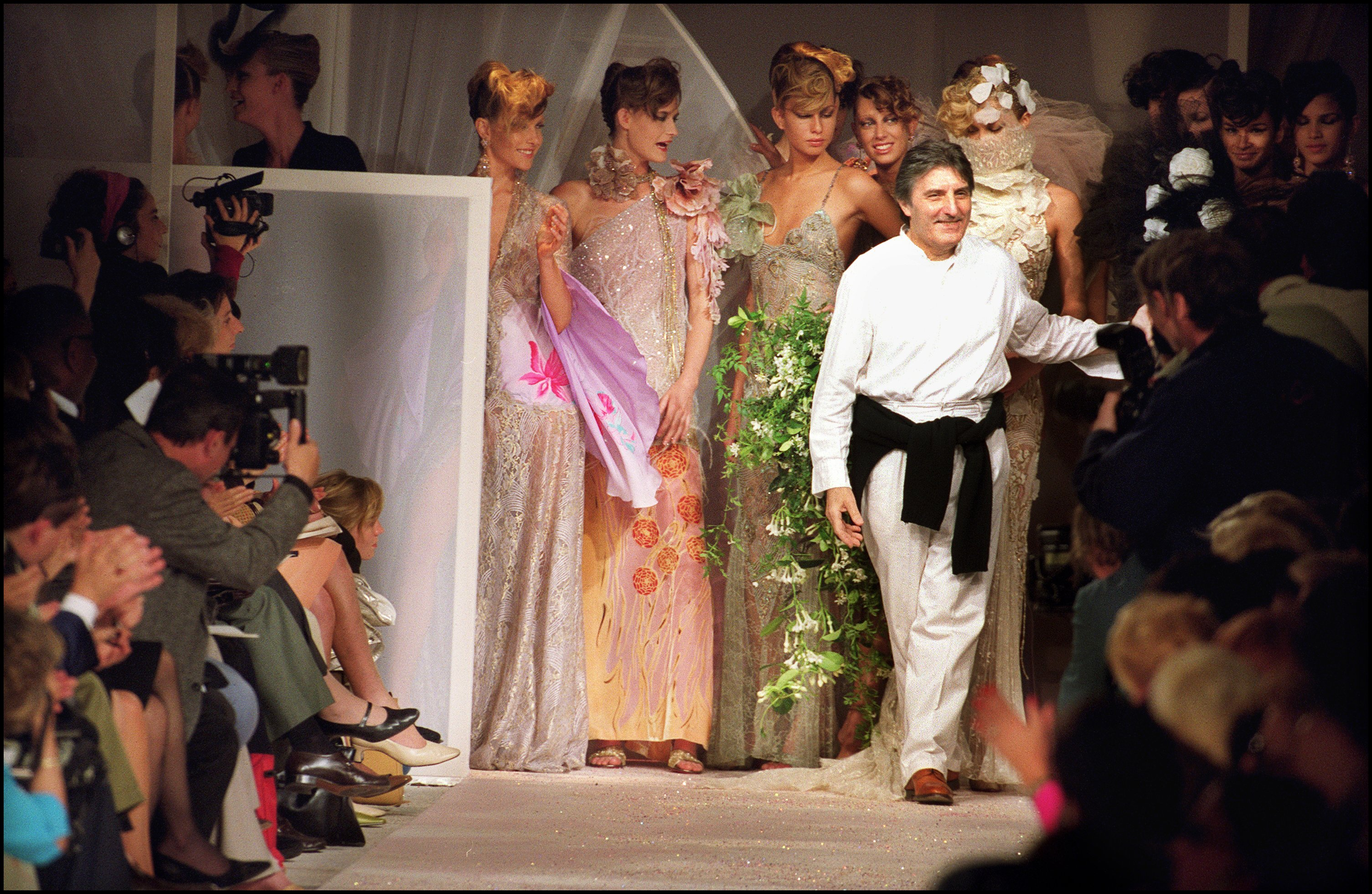 Emmanuel Ungaro takes his bow at the end of his label's 2001 autumn/winter haute couture fashion show on n Oct. 7, 2000 in Paris, France.