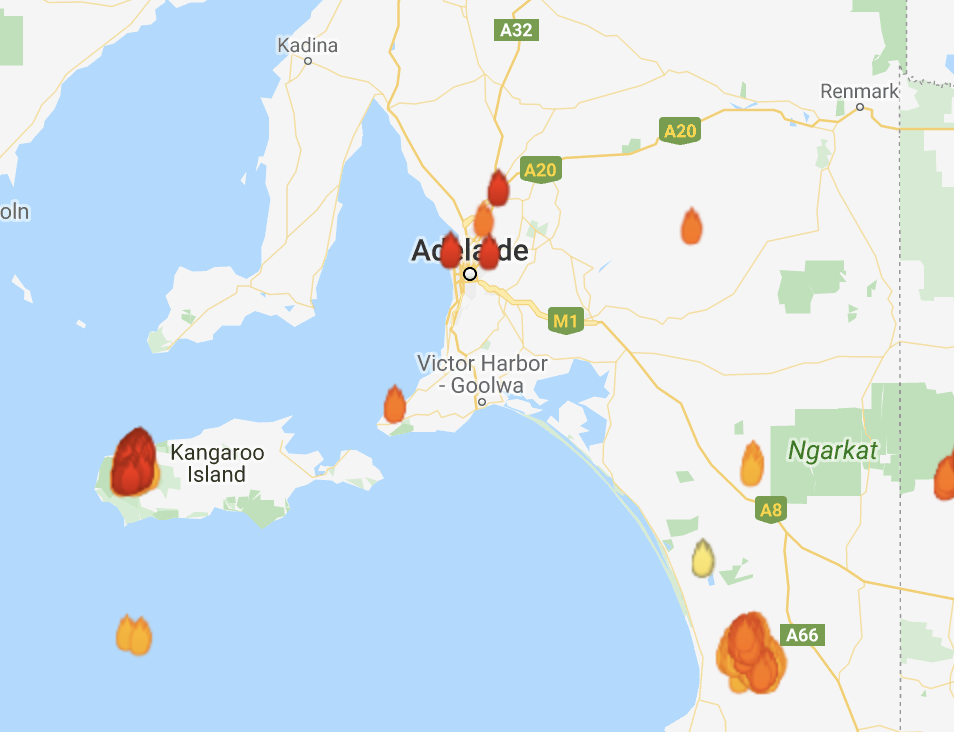 Wildfires burn outside Adelaide