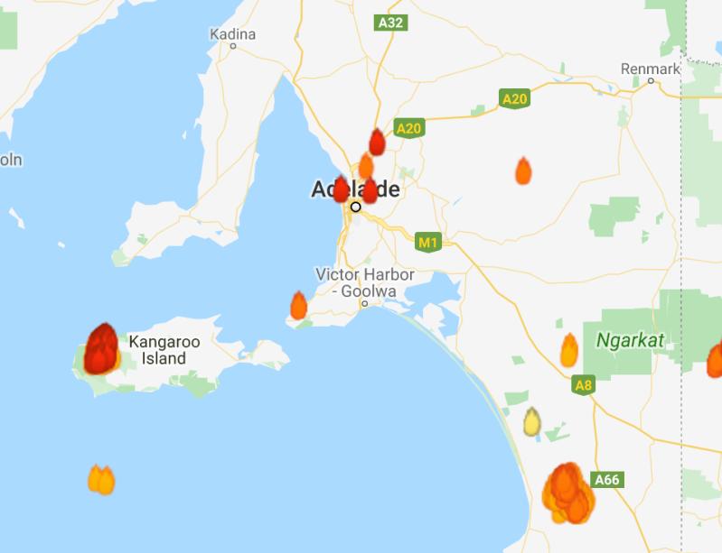 Wildfires burn outside Adelaide