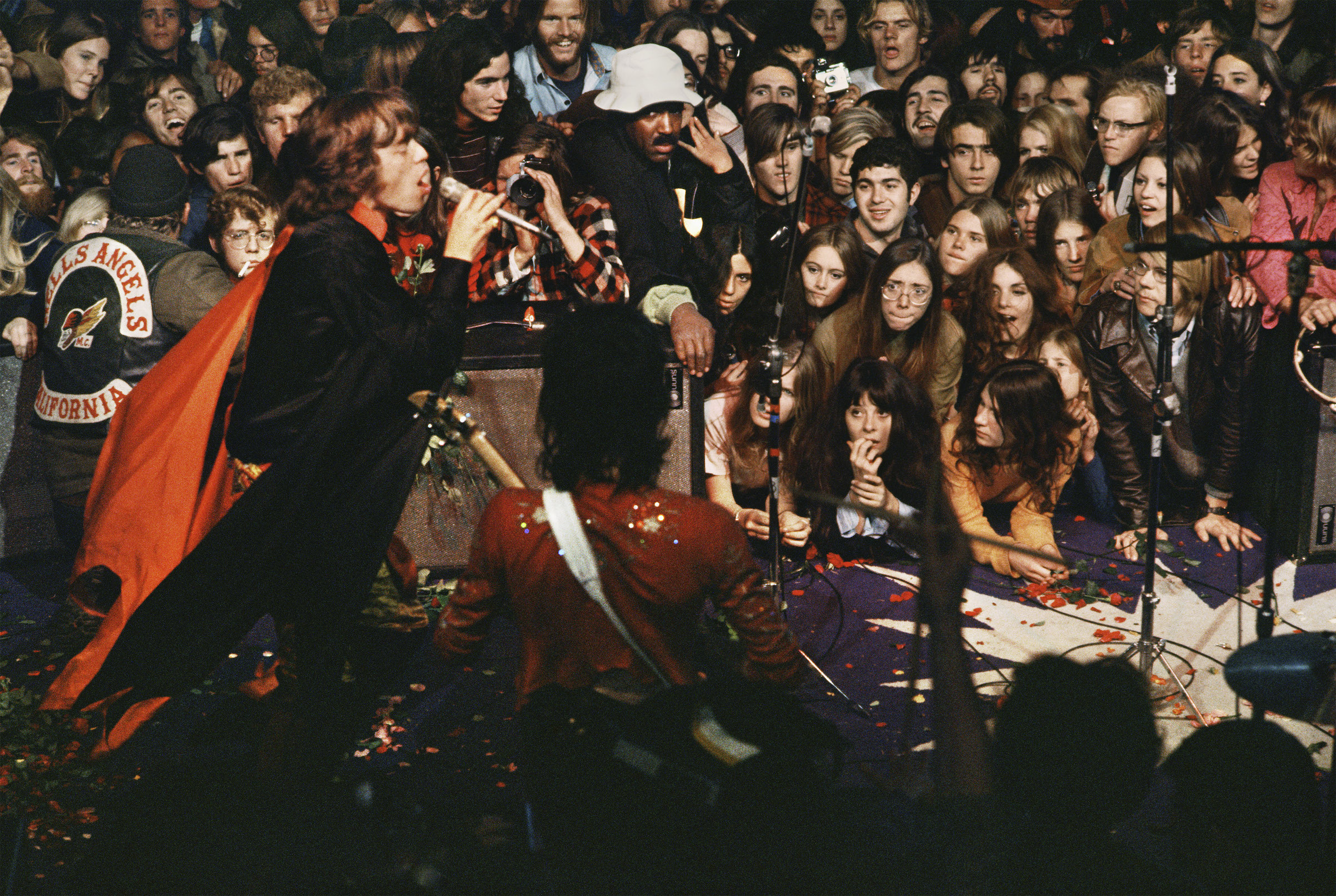 Mick Jagger on stage at Altamont. Dec. 6, 1969.