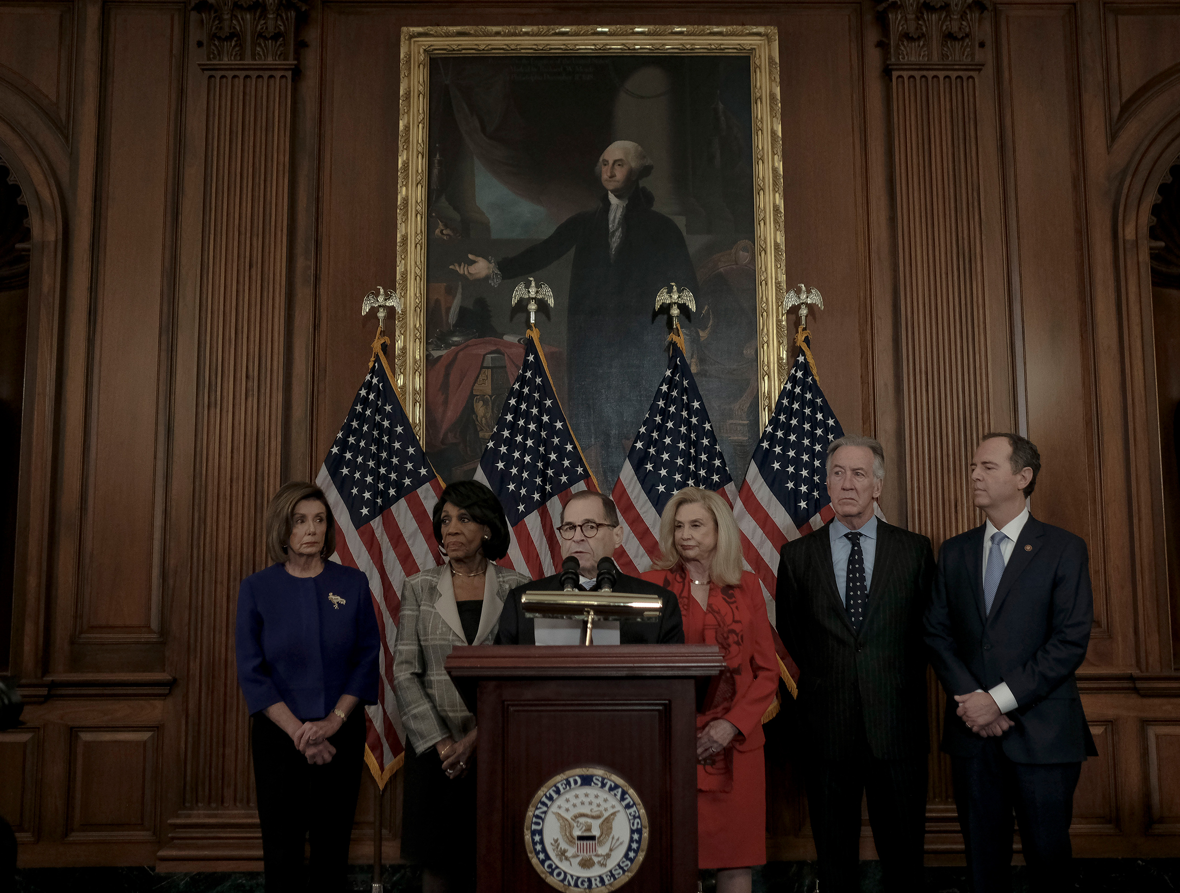 Rep. Jerry Nadler (D-NY), chairman of the Judiciary Committee, along with Speaker Nancy Pelosi and other Democratic committee heads announce the formal articles of impeachment against President Trump at the Capitol on Dec. 10, 2019.