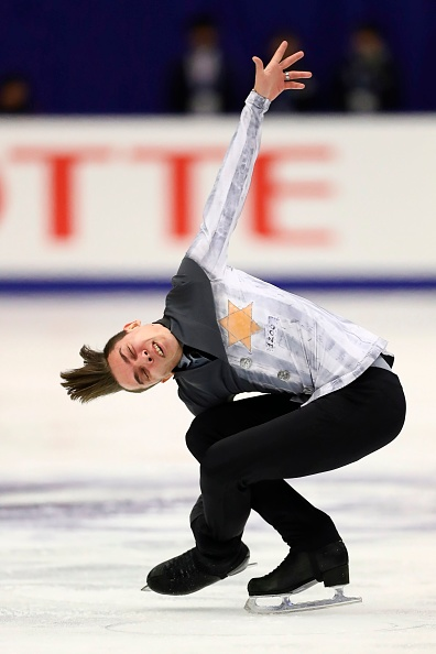 Russia's Anton Shulepov performs in the men's free skating at the Grand Prix of Figure Skating 2019/2020 NHK Trophy in Sapporo on November 23, 2019.
