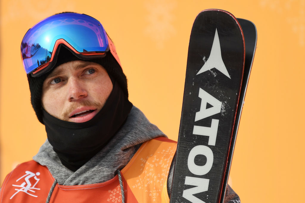 Gus Kenworthy reacts during the freestyle skiing men's ski slopestyle final on day nine of the PyeongChang 2018 Winter Olympic Games on Feb. 18, 2018.