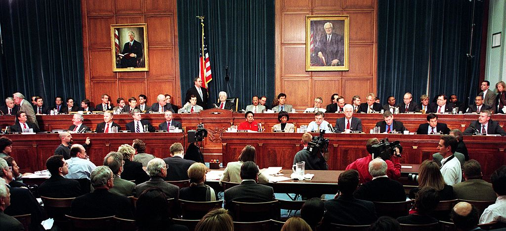 Members of the House Judiciary Committee discuss articles of impeachment against US President Bill Clinton Dec. 11, 1998, on Capitol Hill in Washington, D.C.